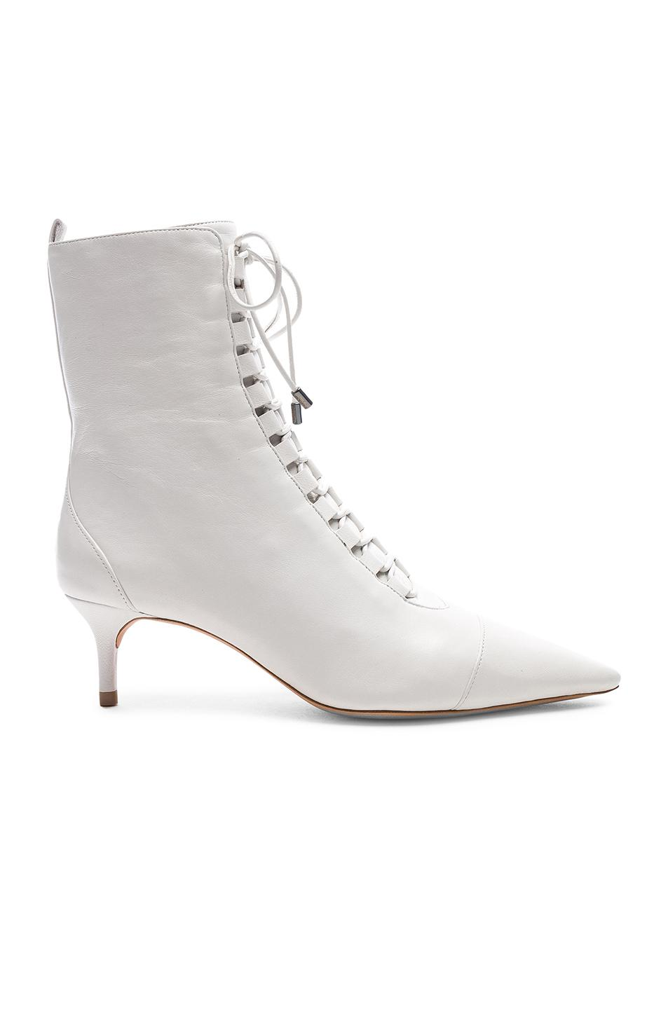 cce27964a621 Alexandre Birman Leather Millen Lace Up Ankle Boots in White - Save ...