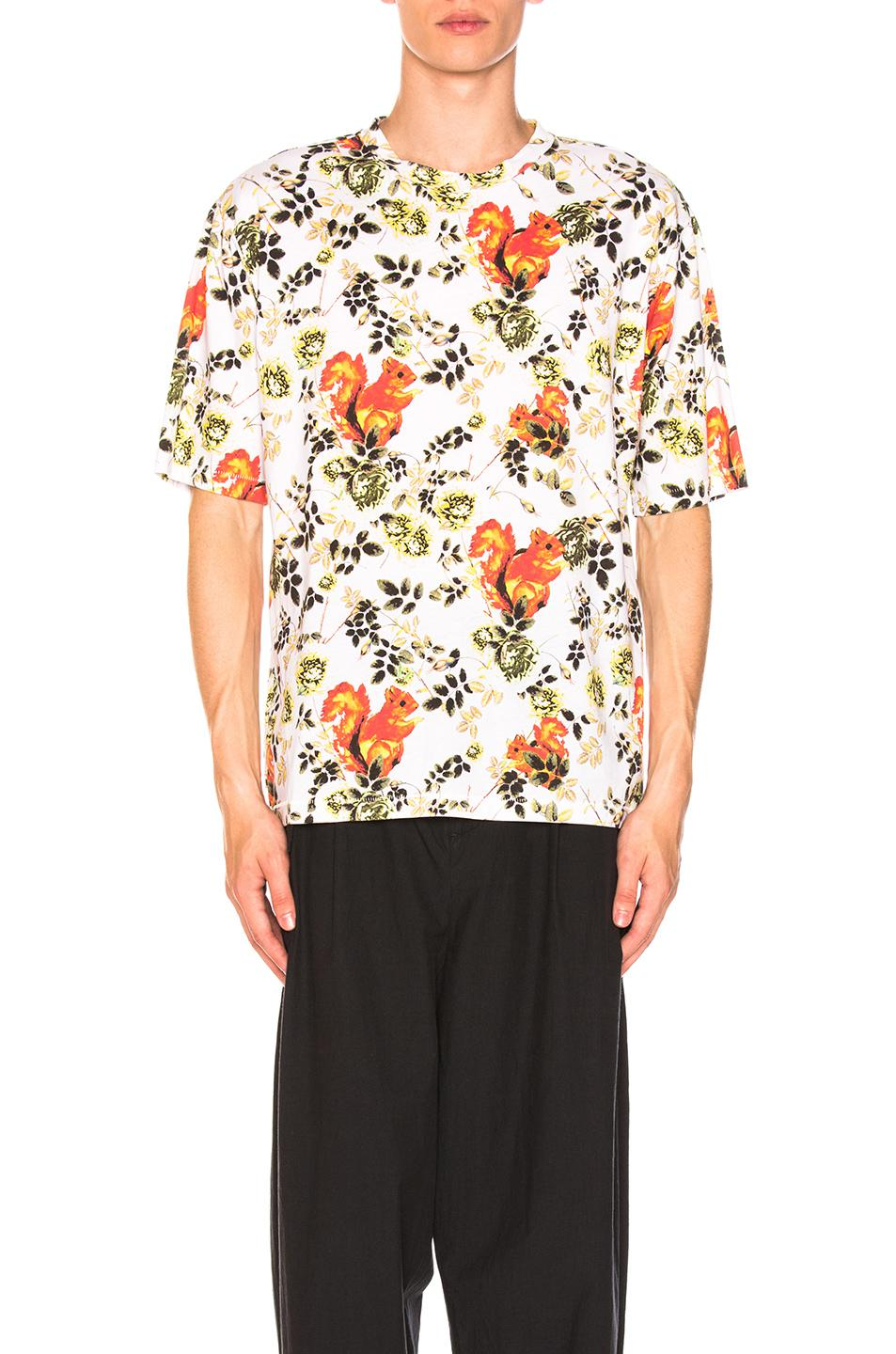 Box Cut Surreal Animal Print T-Shirt in Floral,White 3.1 Phillip Lim