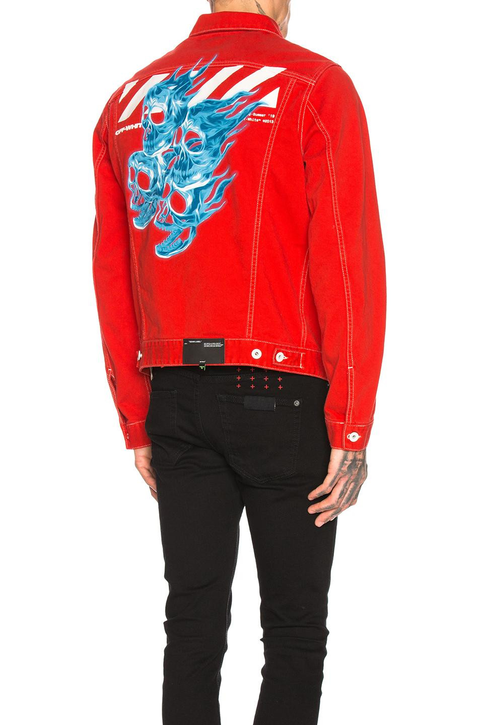 bd4968e7fb78 Lyst - Off-White c o Virgil Abloh Slim Denim Jacket in Red for Men