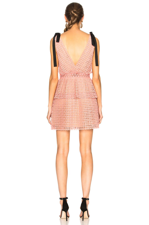 562630e351530 Self-Portrait - Pink Cutwork Mini Dress - Lyst. View fullscreen