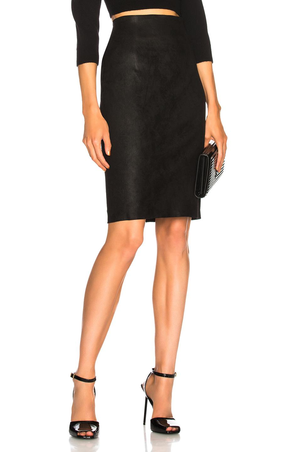 Get this leather pencil skirt which makes you look gorgeous and stunning. Made from lamb leather this pencil skirt features with high waist which make this skirt look attractive. Thus this is a perfect corporate wear that you must try. This leather skirt has back zipper and also has paneled design.