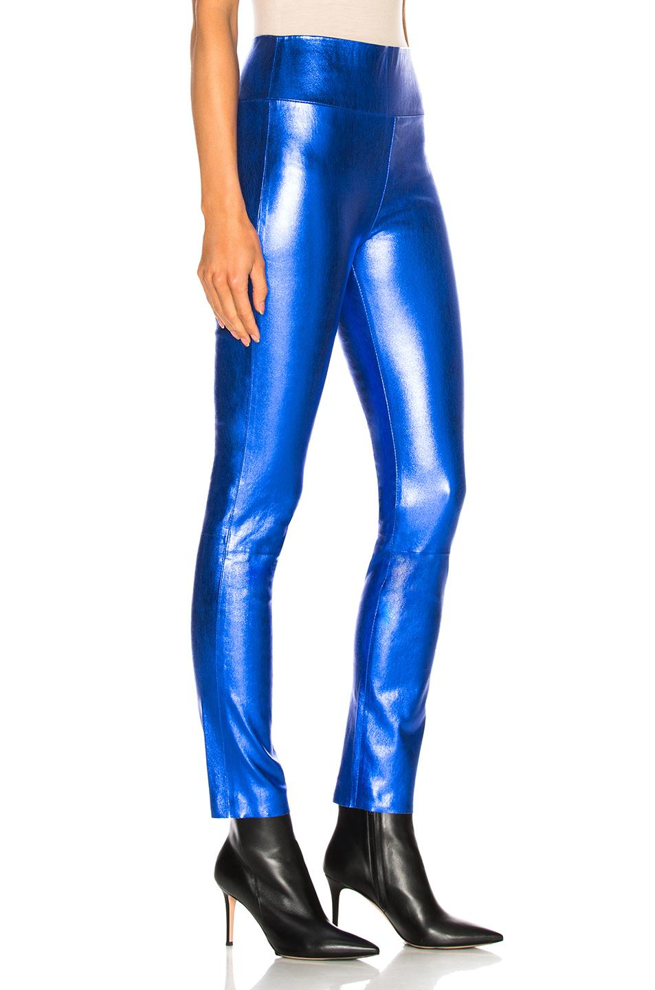 ec1e8bf64 SPRWMN - Blue Metallic Leather leggings - Lyst. View fullscreen