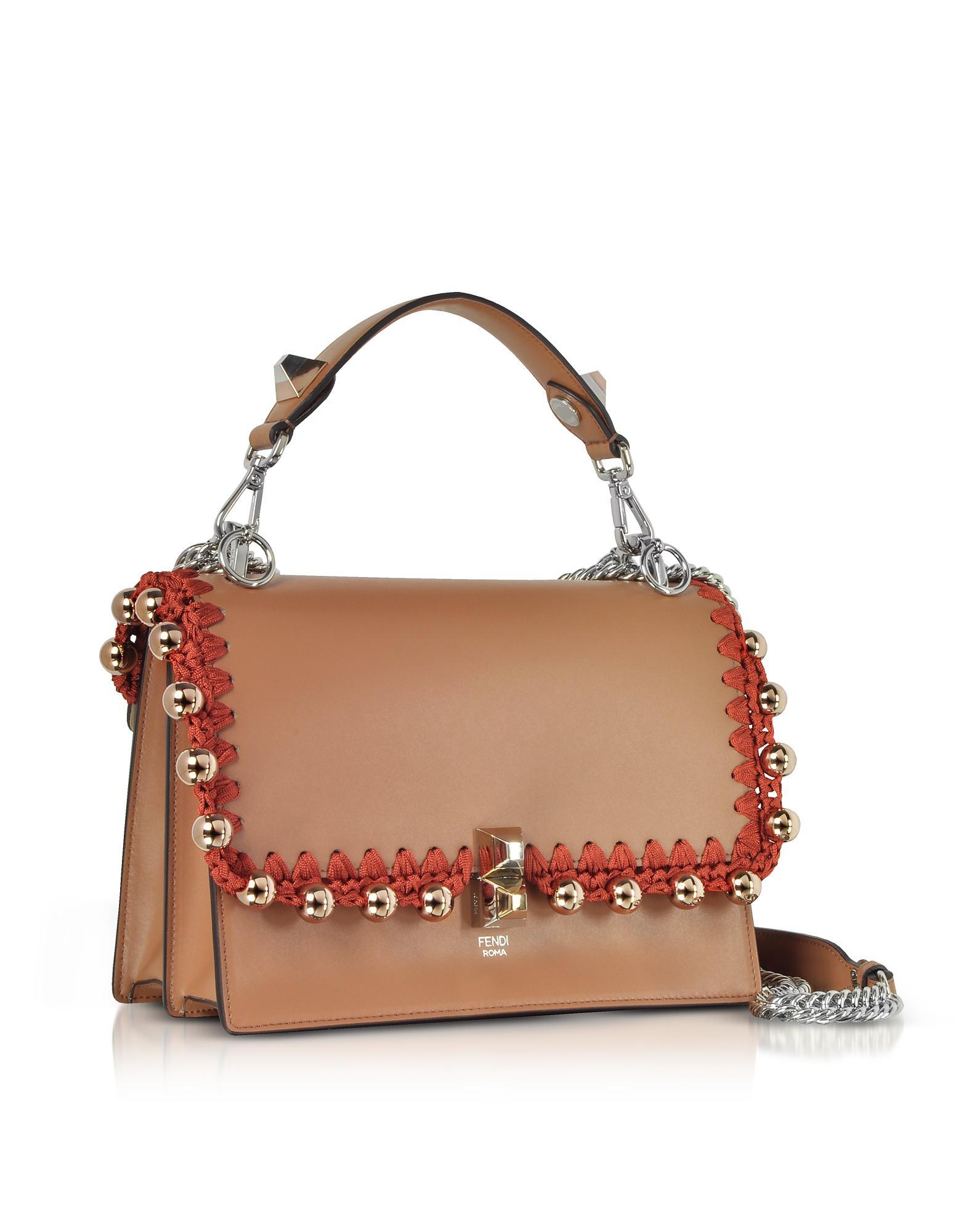 Fendi Kan I M Cuoio Leather Top Handle Shoulder Bag W rose Goltone ... 151b2dface0b7