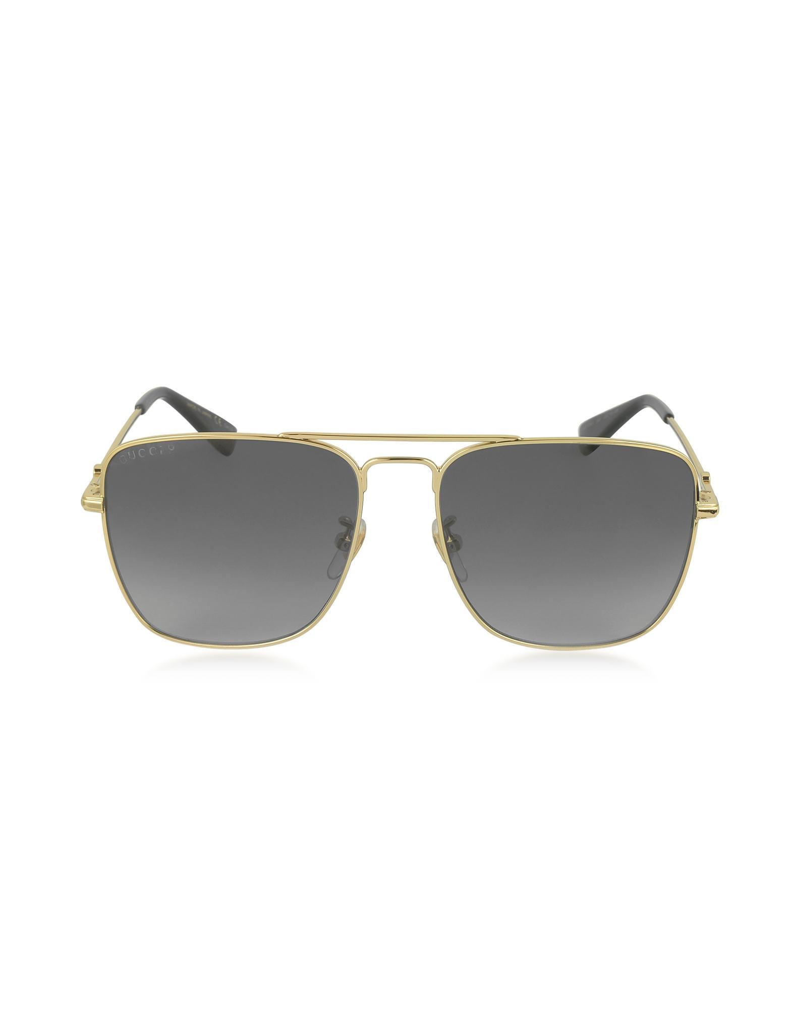 07d76980efe Gucci. Metallic GG0108S 006 Gold Metal Square Aviator Men s Polarized  Sunglasses