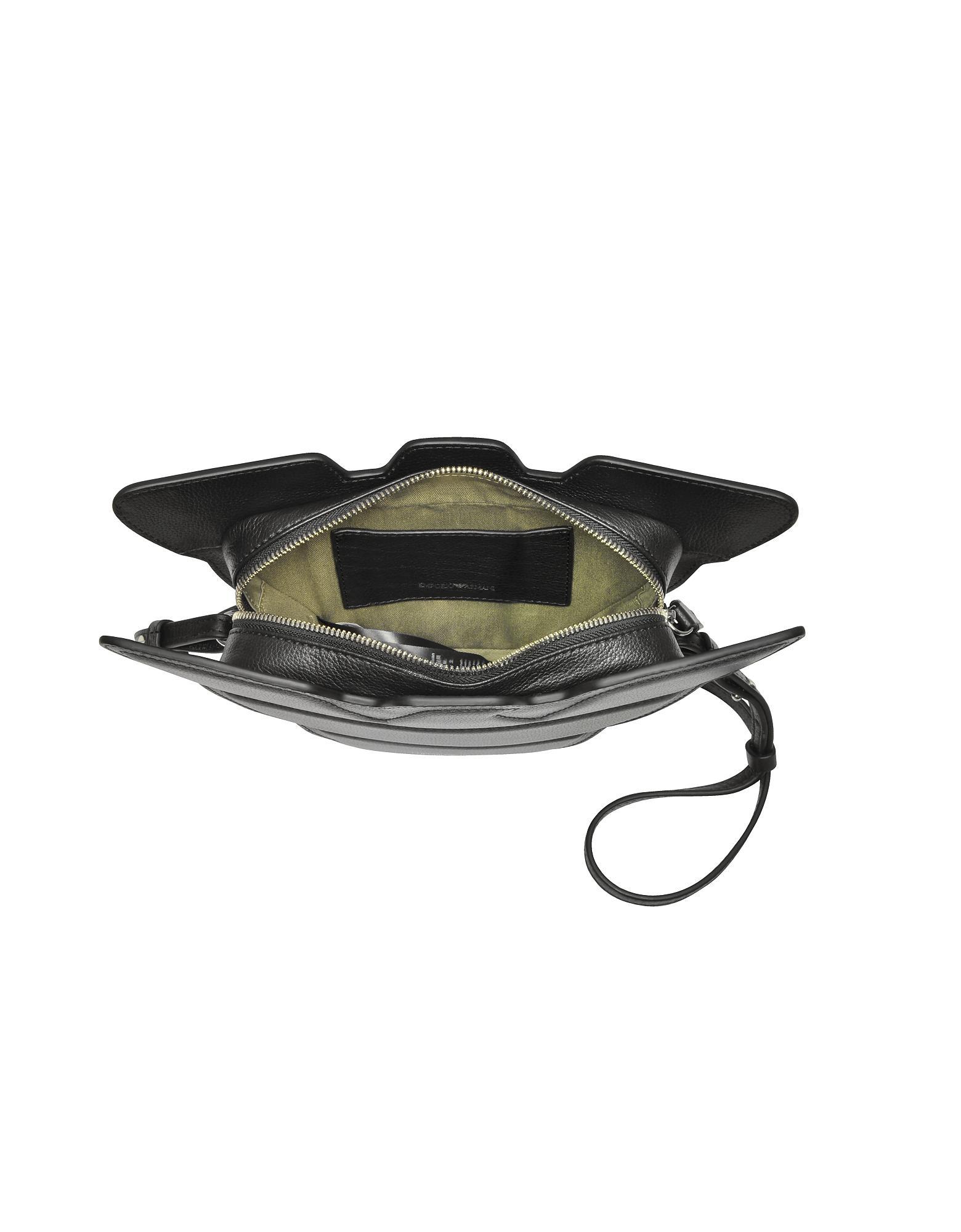 e38837305a52 Emporio Armani Black Genuine Leather Eagle Shoulder Bag in Black - Lyst