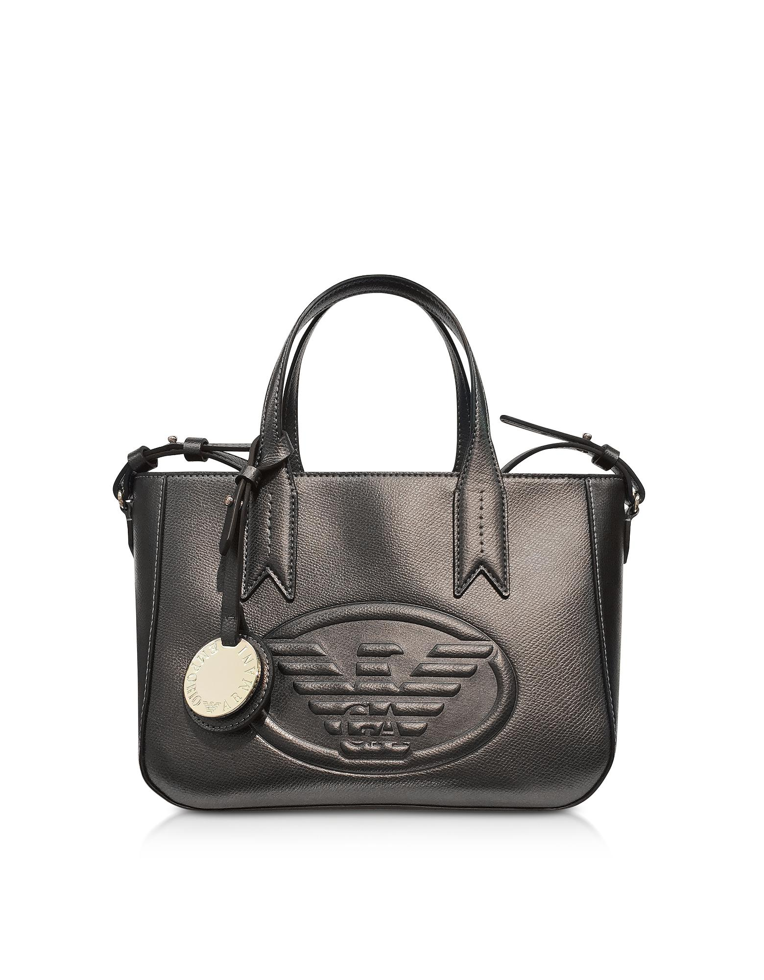 fd96899b00aa Lyst - Emporio Armani Dark Gray steel Embossed Eagle Small Tote Bag ...