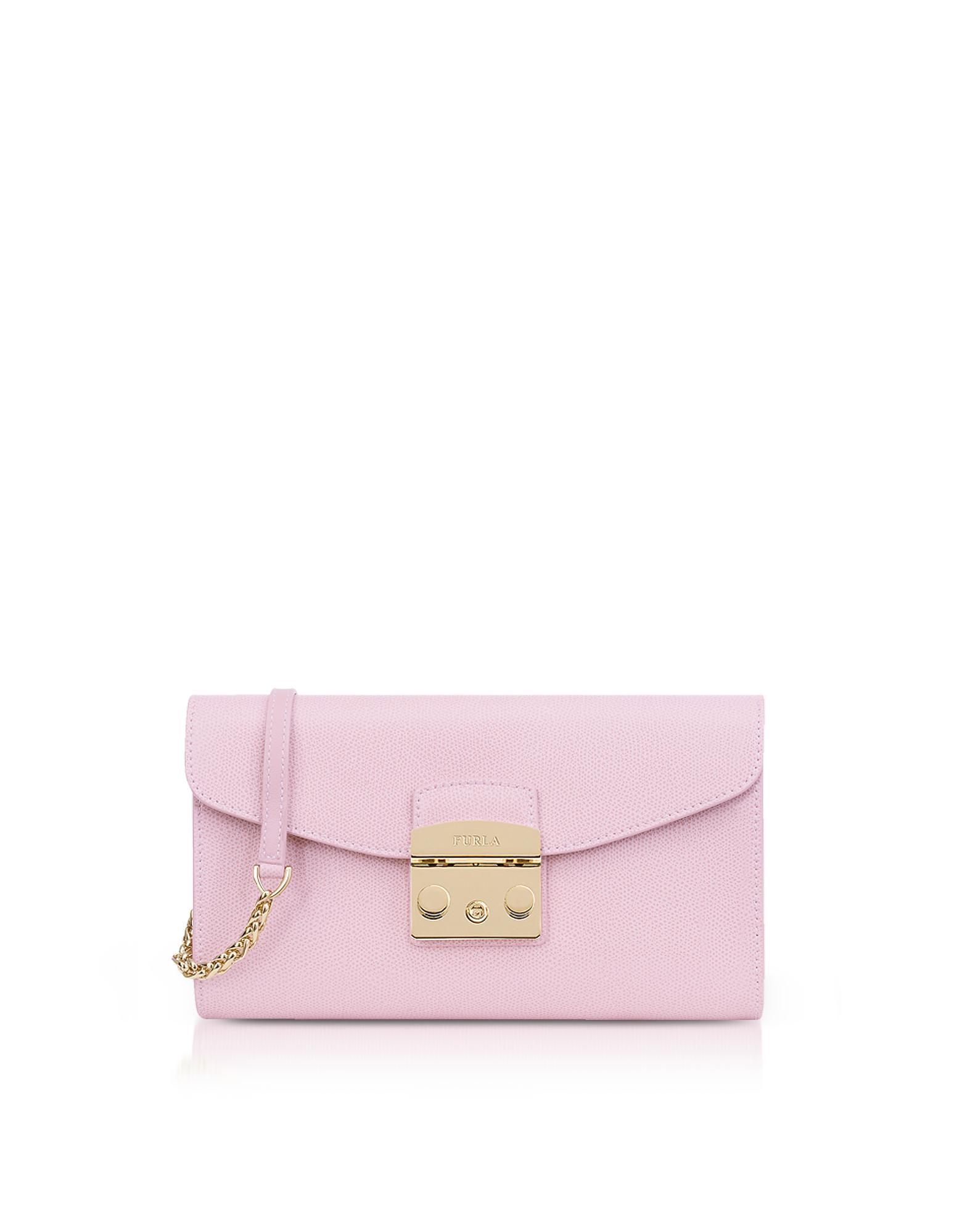6bb4f7f00b00 Furla - Pink Camelia Lizard Printed Leather Metropolis Small Clutch W chain  Strap - Lyst. View fullscreen