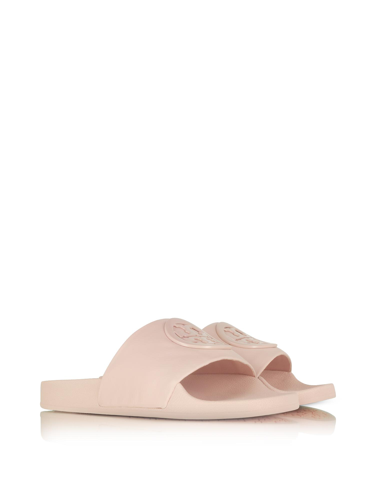 ed81070f0 Lyst - Tory Burch Shell Pink Leather Lina Slide Sandals in Pink