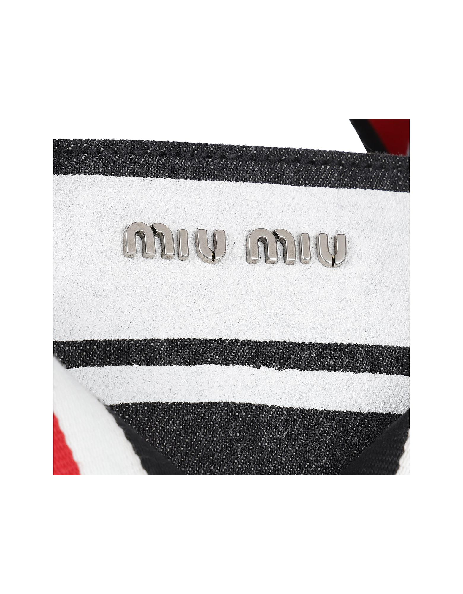 Lyst - Miu Miu Denim Logo Shopping Bag Nero bianco in Gray 74578f848b4e8