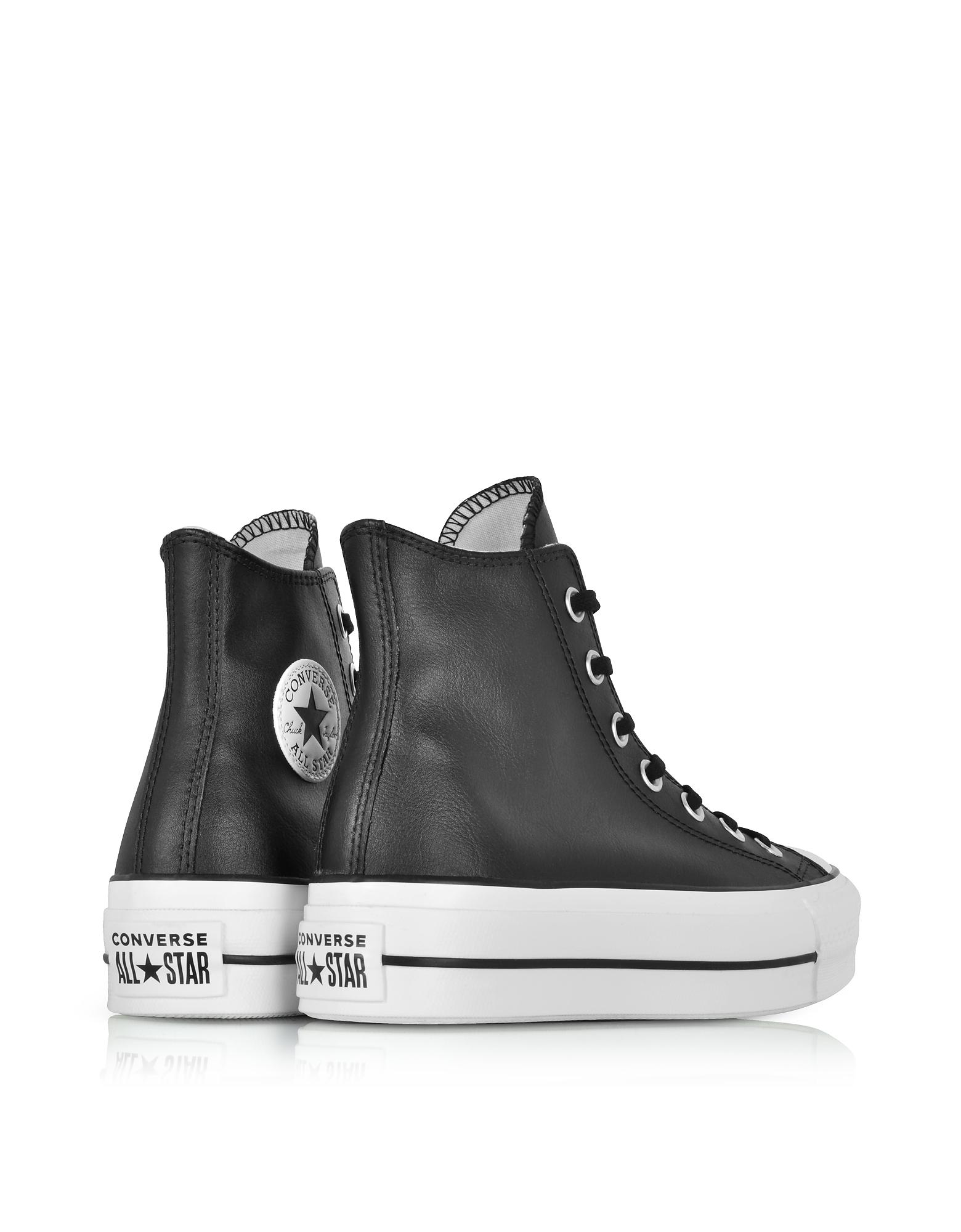 c7fb7915b800f Lyst - Converse Chuck Taylor All Star Lift Clean Black Leather High ...