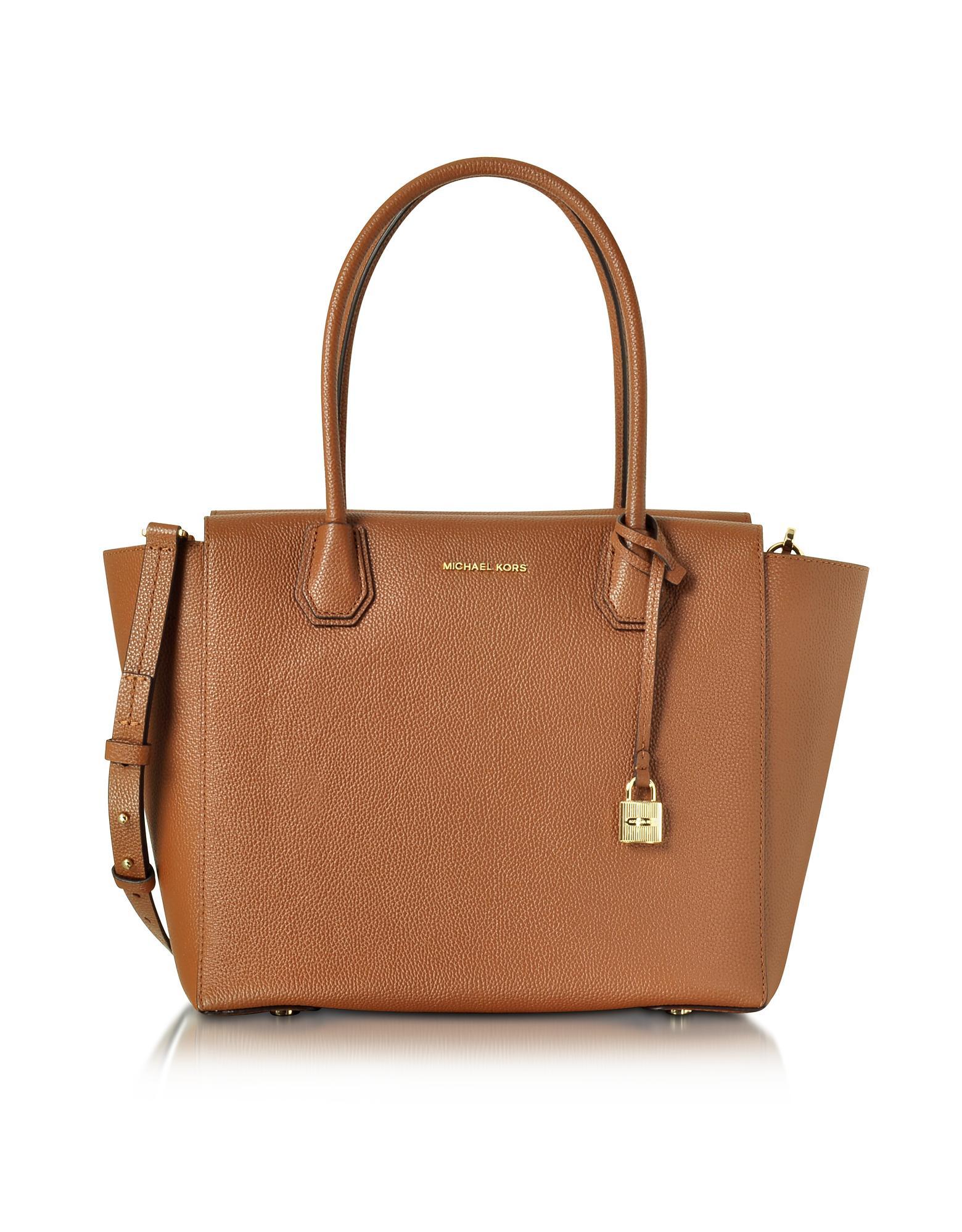 915dbdd630 Michael Kors Mercer Large Luggage Bonded Pebble Leather Satchel in ...