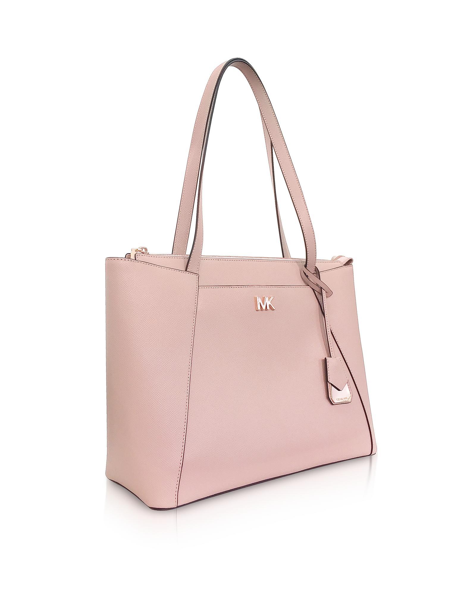 d688611d699a Lyst - Michael Kors Soft Pink Maddie Medium Crossgrain Leather Tote ...