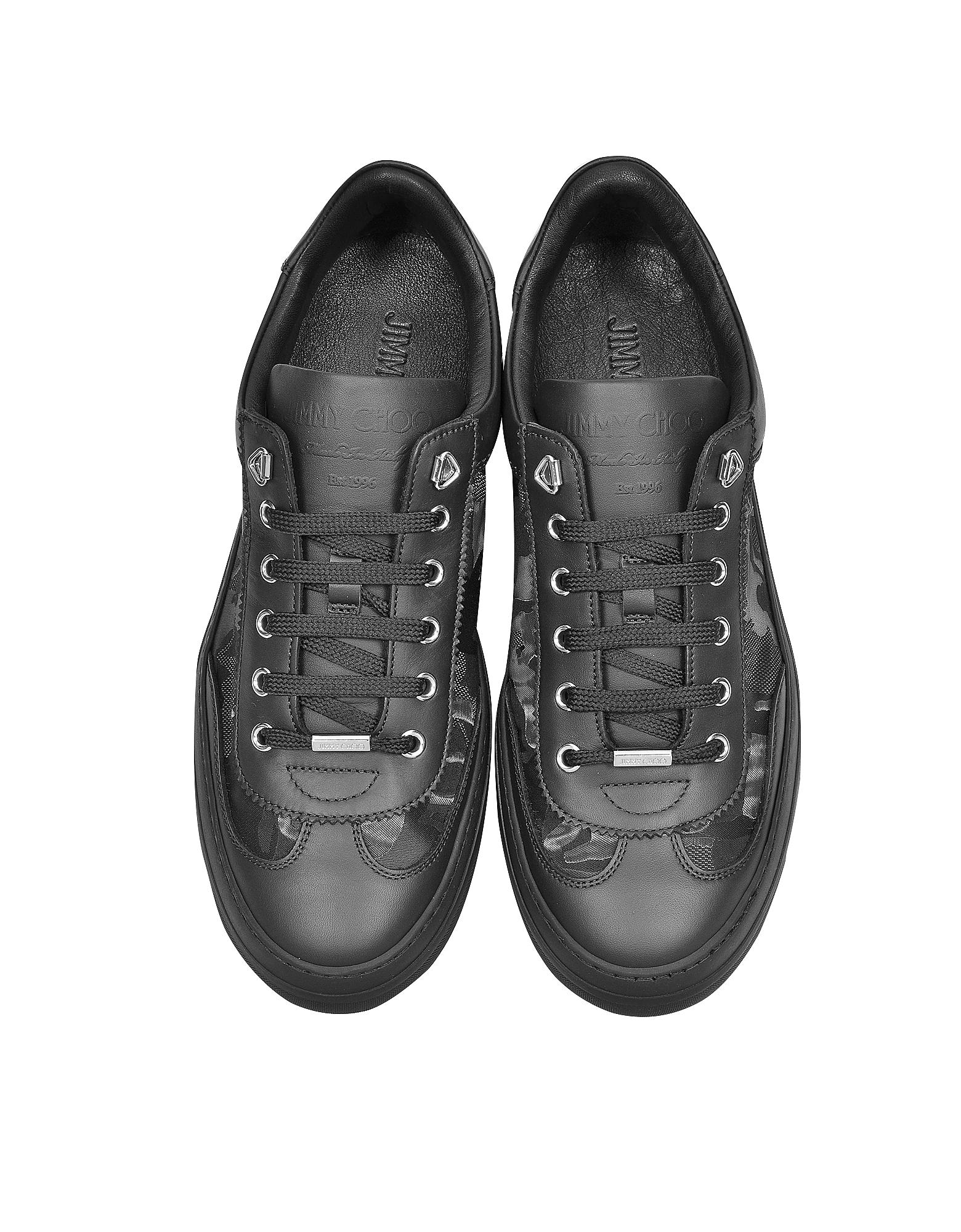 a26fa16e1f0 Lyst - Jimmy Choo Ace Black Camo Fabric Mix Low Top Sneakers in ...