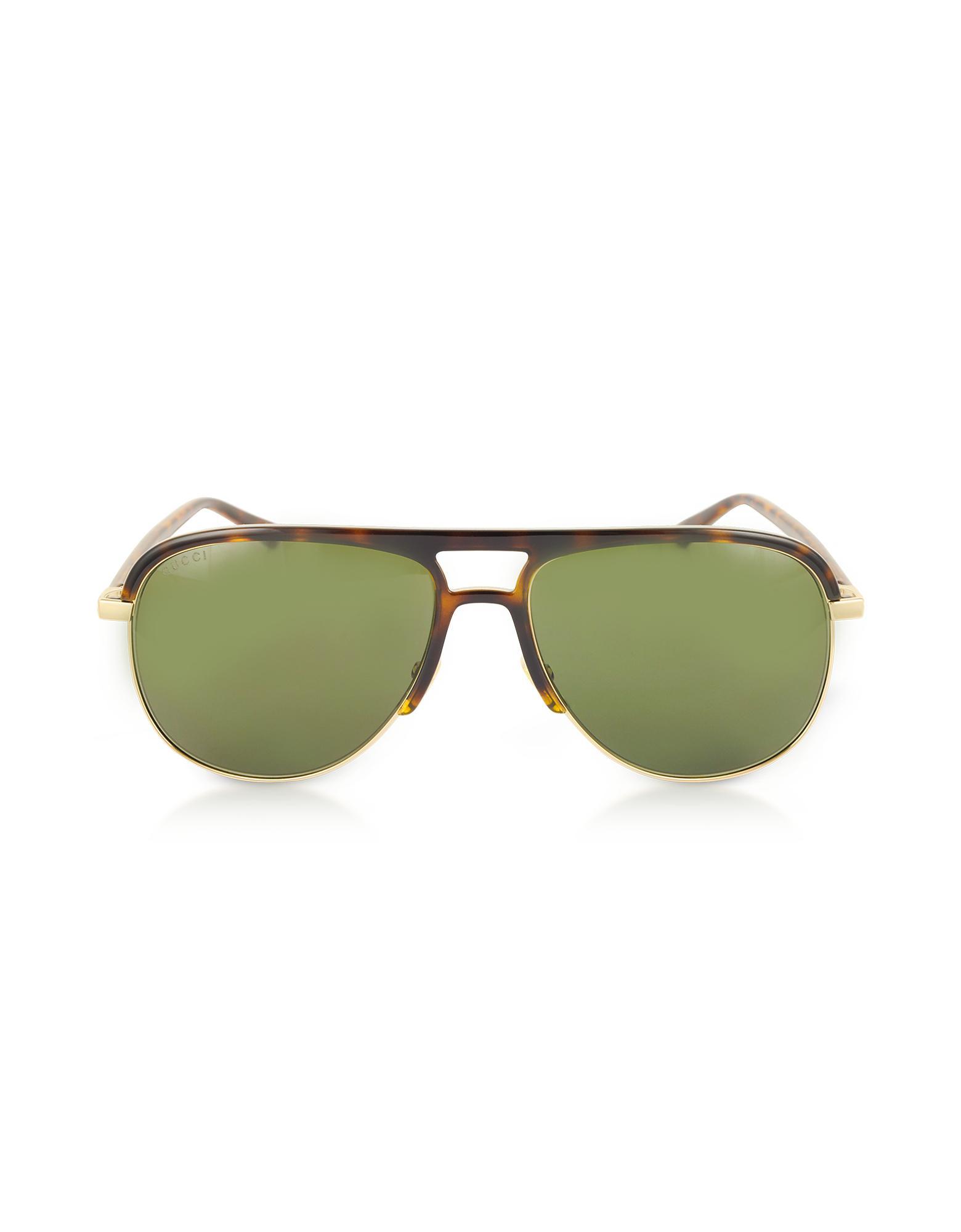 af98ec4d1a0 Lyst - Gucci GG0292S Metal And Acetate Frame Aviator Sunglasses in ...