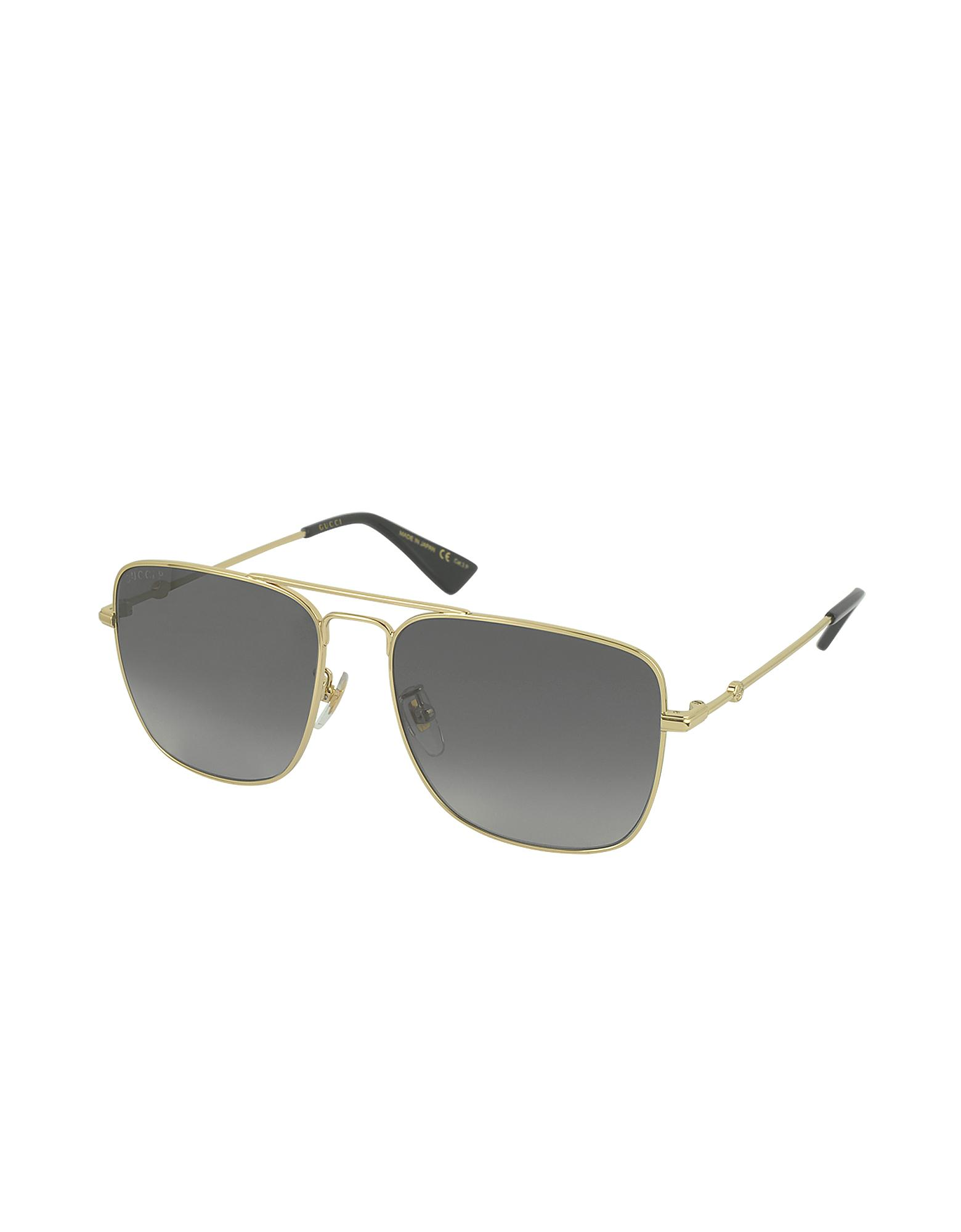 Lyst - Gucci GG0108S 006 Gold Metal Square Aviator Men s Polarized  Sunglasses in Metallic for Men 8cce3a3a6c