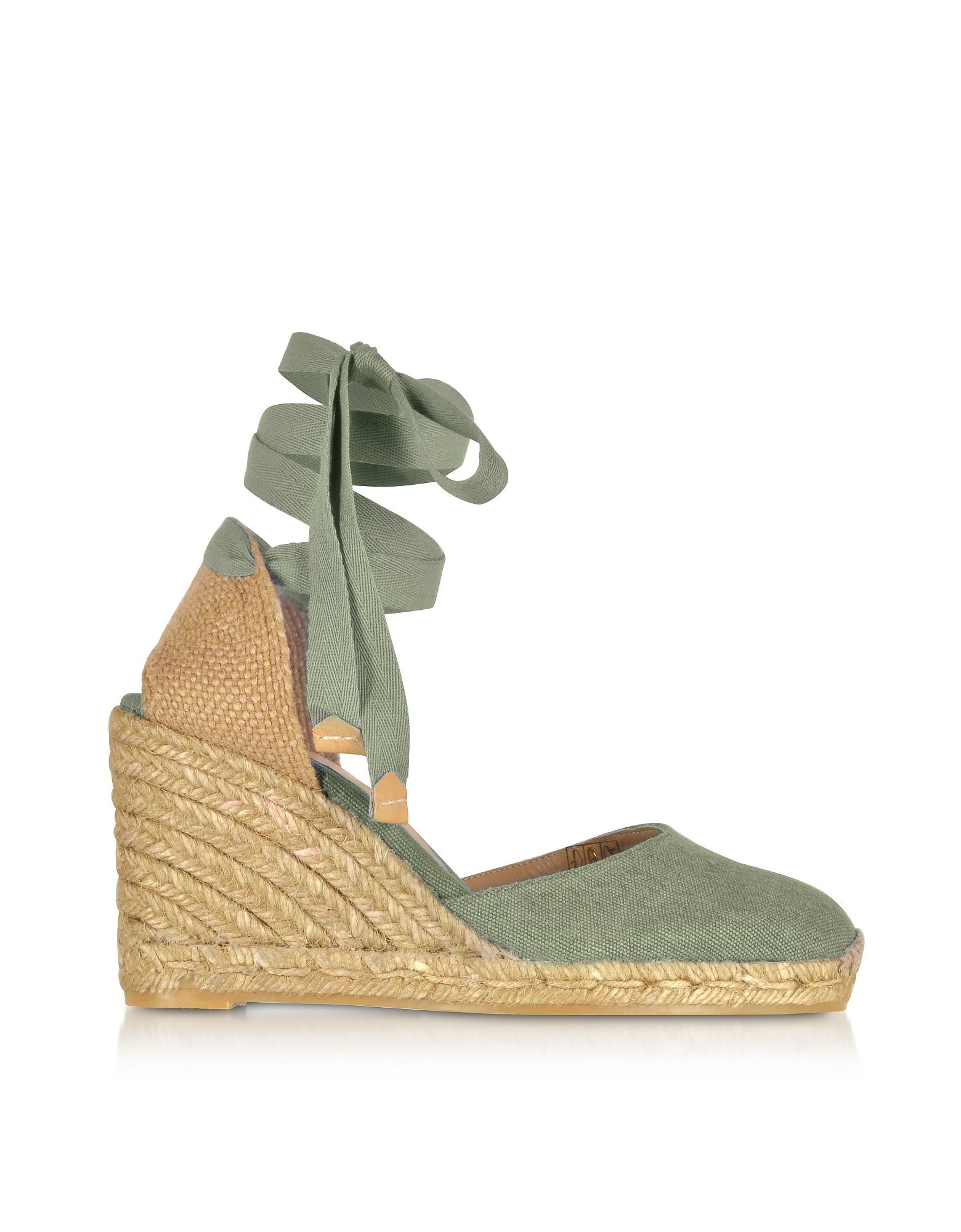 b09dccecde5 Lyst - Castaner Carina Olive Canvas Wedge Espadrilles in Green