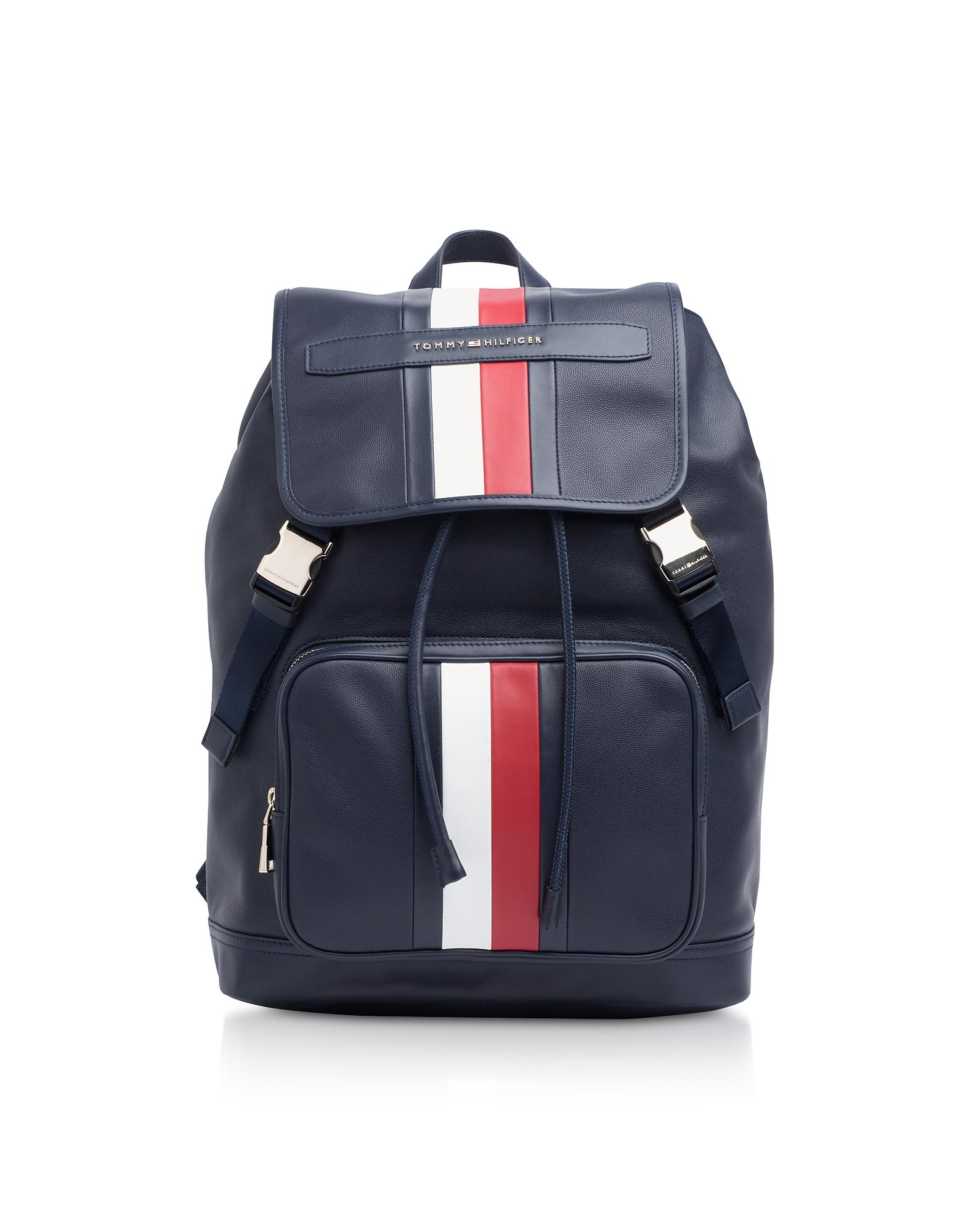 65b928bba13 Tommy Hilfiger - Tommy Blue Striped Leather Elevated Backpack for Men - Lyst.  View fullscreen