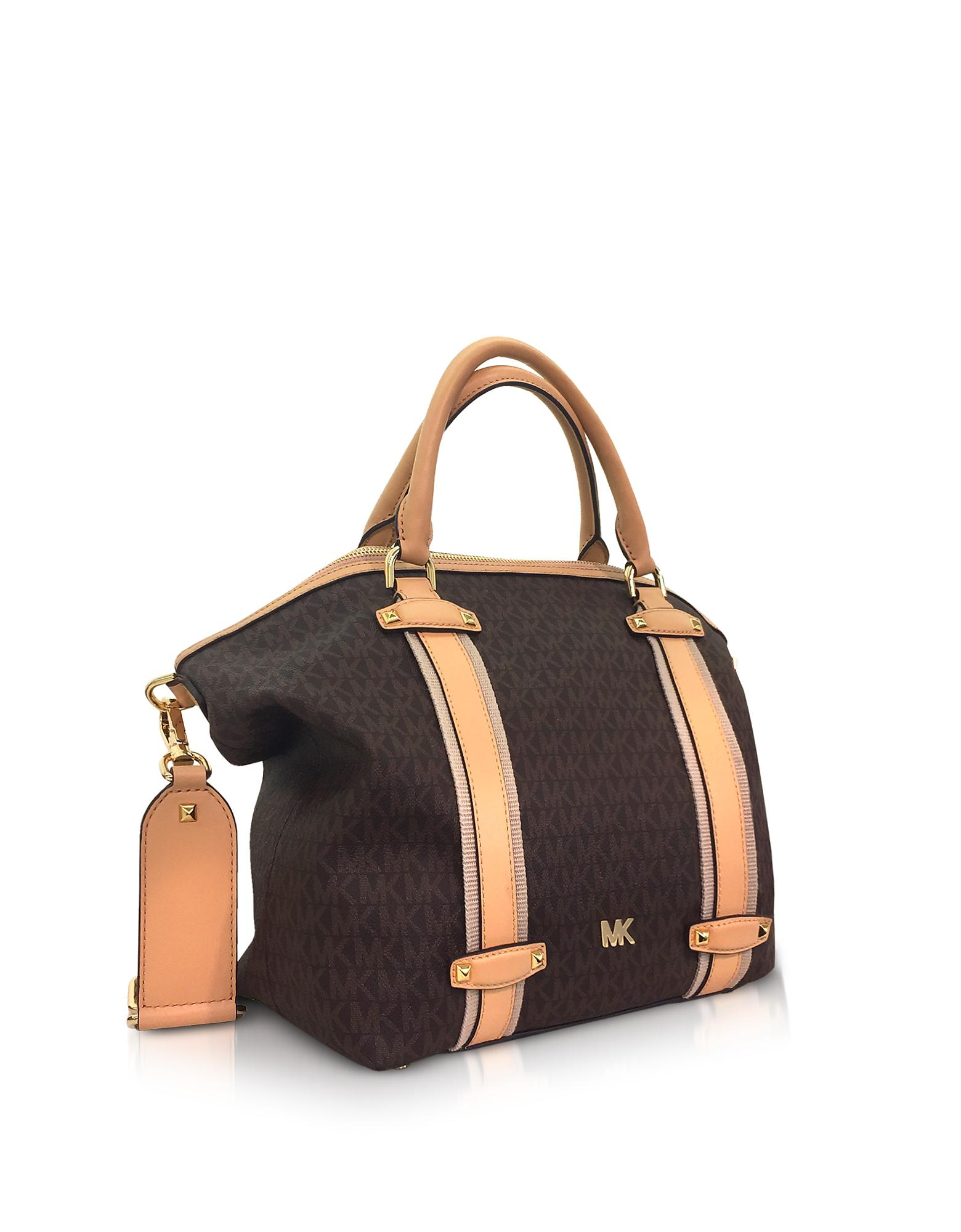 ade0be2489 Michael Kors Burnt Signature Coated Twill Griffin Large Satchel in ...