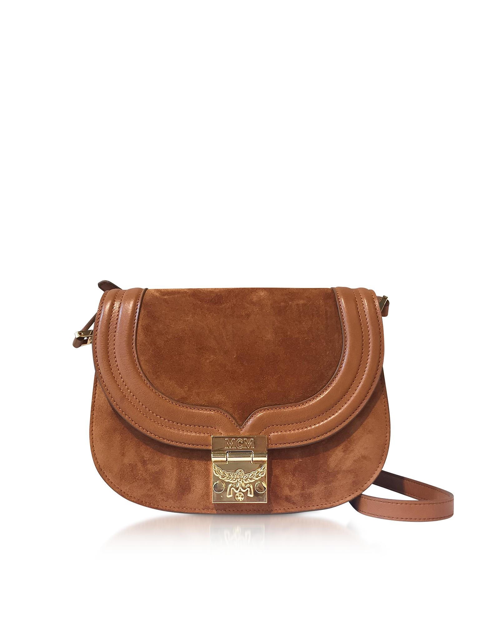 06e6f95069e MCM Trisha Cognac Suede And Leather Small Shoulder Bag in Brown - Lyst