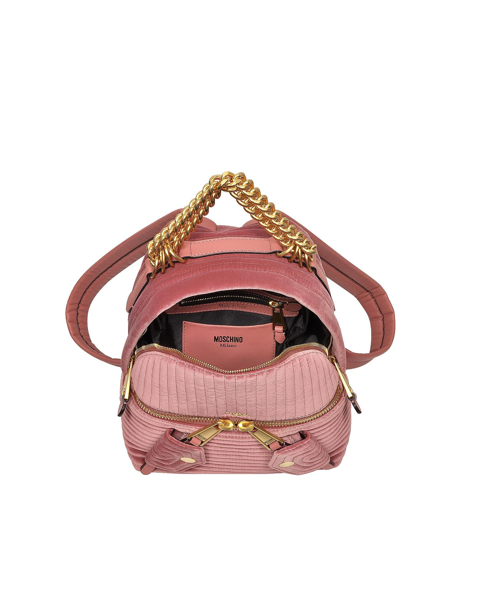 Moschino Pink Quilted Velvet Backpack in Pink - Lyst e491124ce2f9c