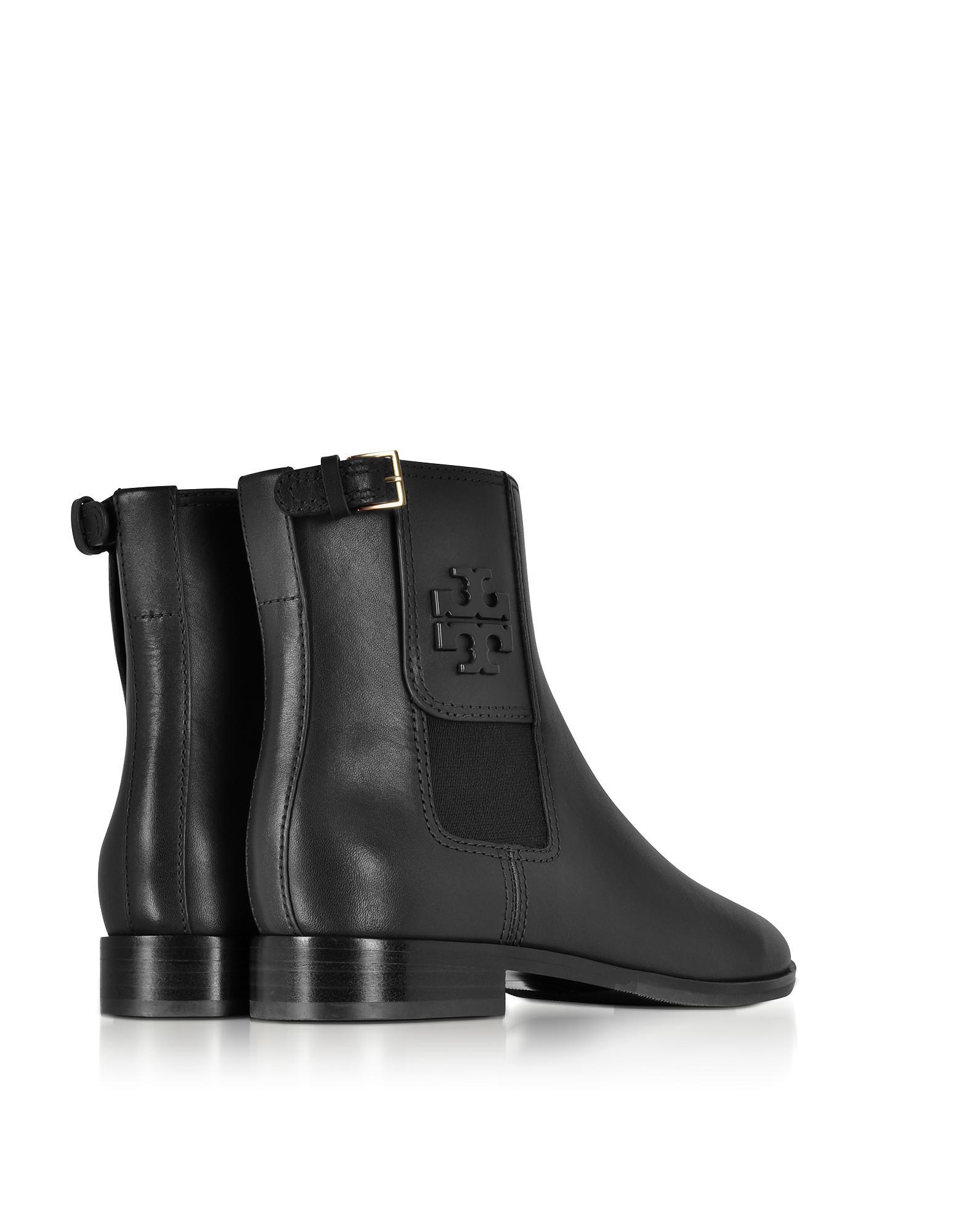 782a92d8b26 Lyst - Tory Burch Wyatt Black Leather Bootie in Black