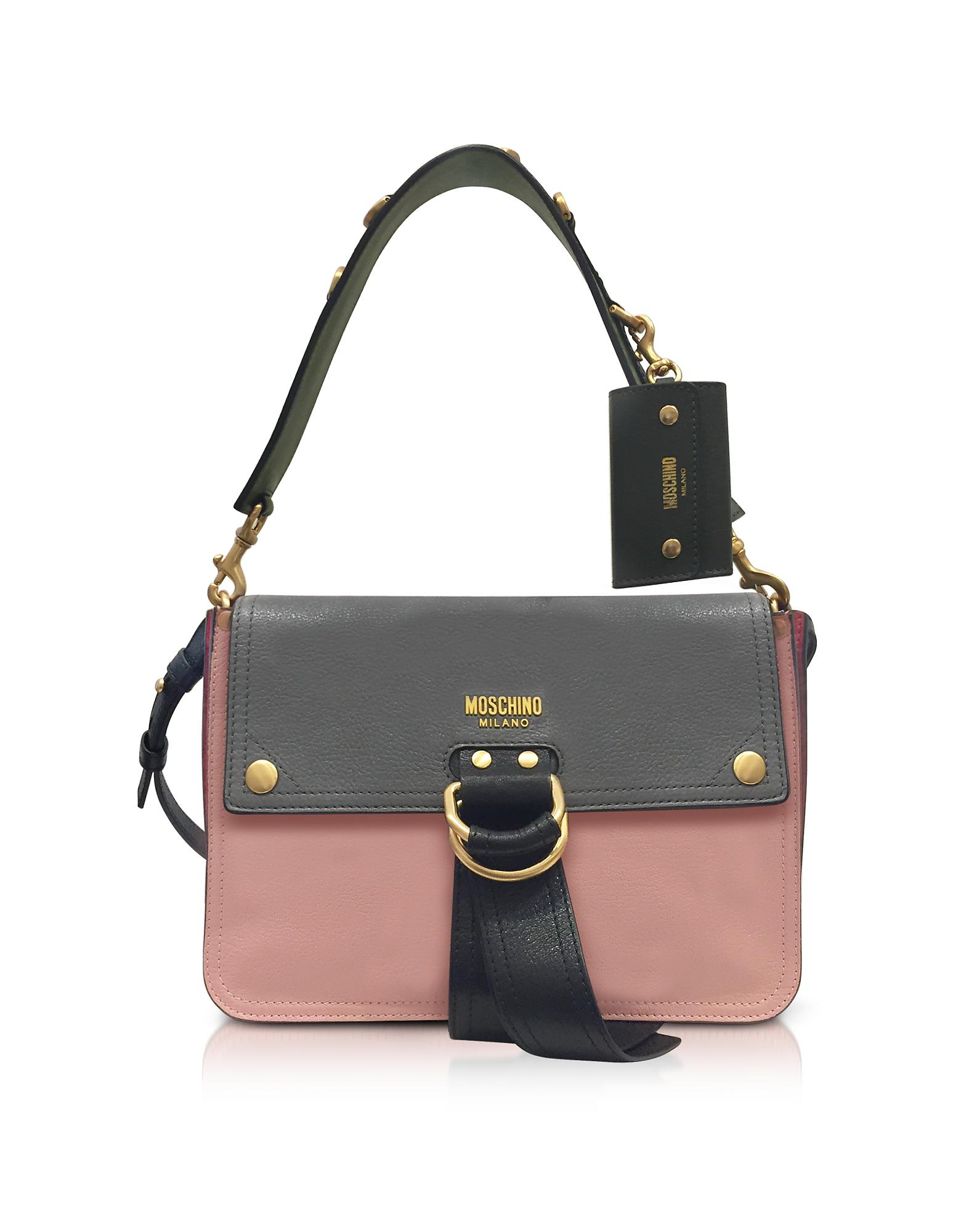 Moschino Color Block Leather Flap Shoulder Bag In Gray Lyst