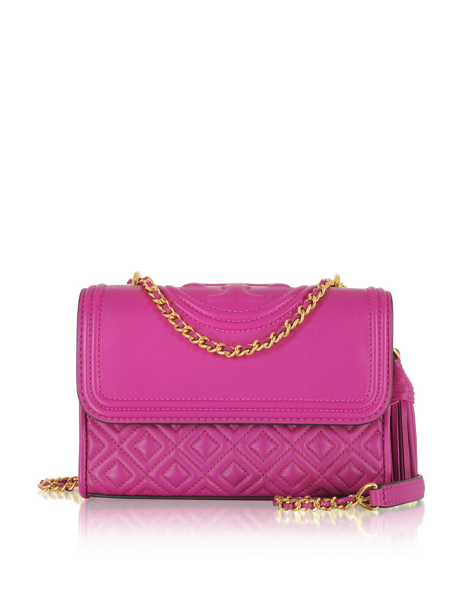 6015481d1f40 Tory Burch Fleming Party Fuchsia Leather Small Convertible Shoulder ...