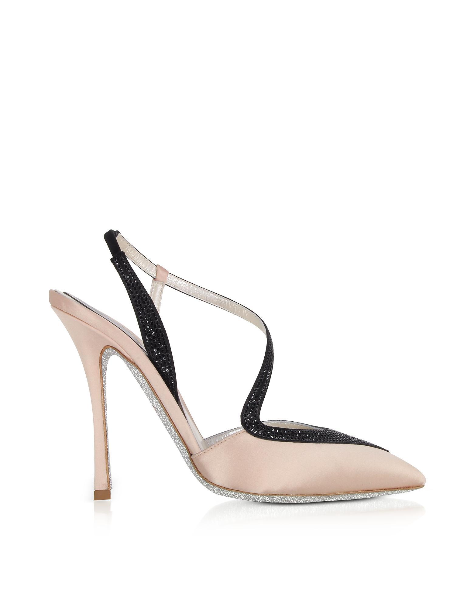 RENé CAOVILLA Designer Shoes, Amanda Nude Satin Slingback Pumps w/ Crystals