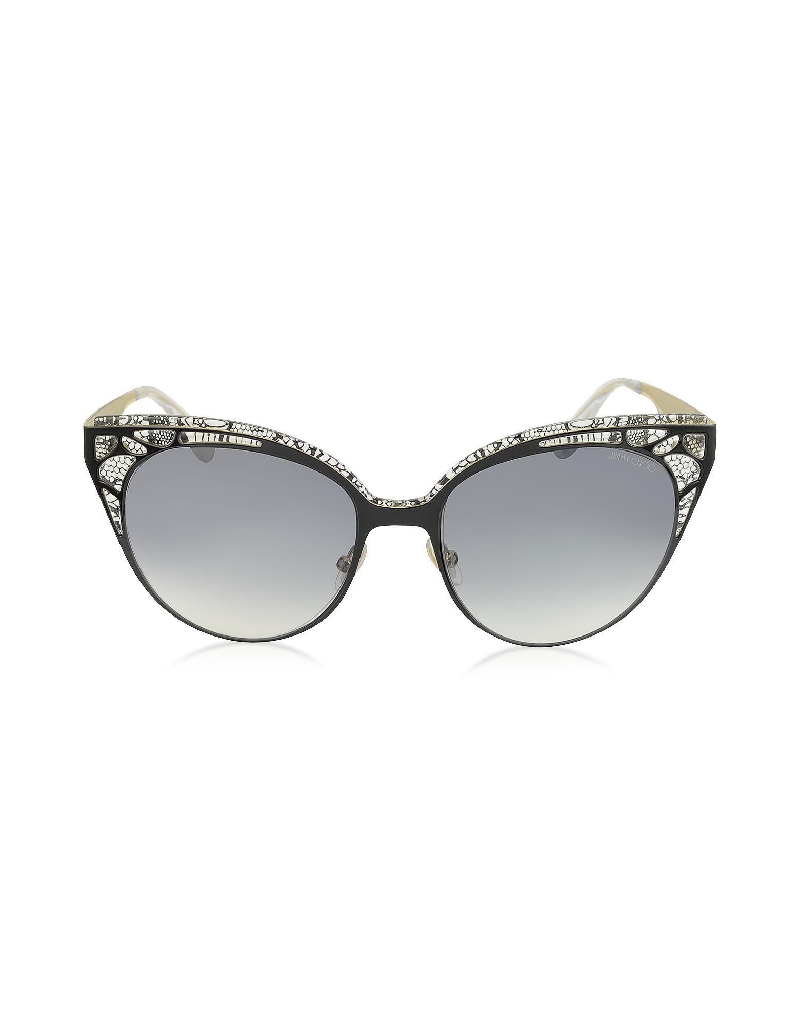 074dc766dc9e Jimmy Choo - Estelle s Enylf Black Metal Lace Cat Eye Sunglasses - Lyst.  View fullscreen