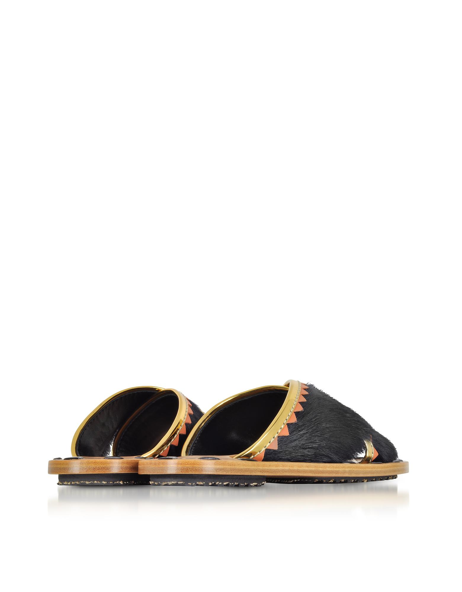 Marni Shoes, Haircalf and Laminated Leather Crossover Slide Sandals