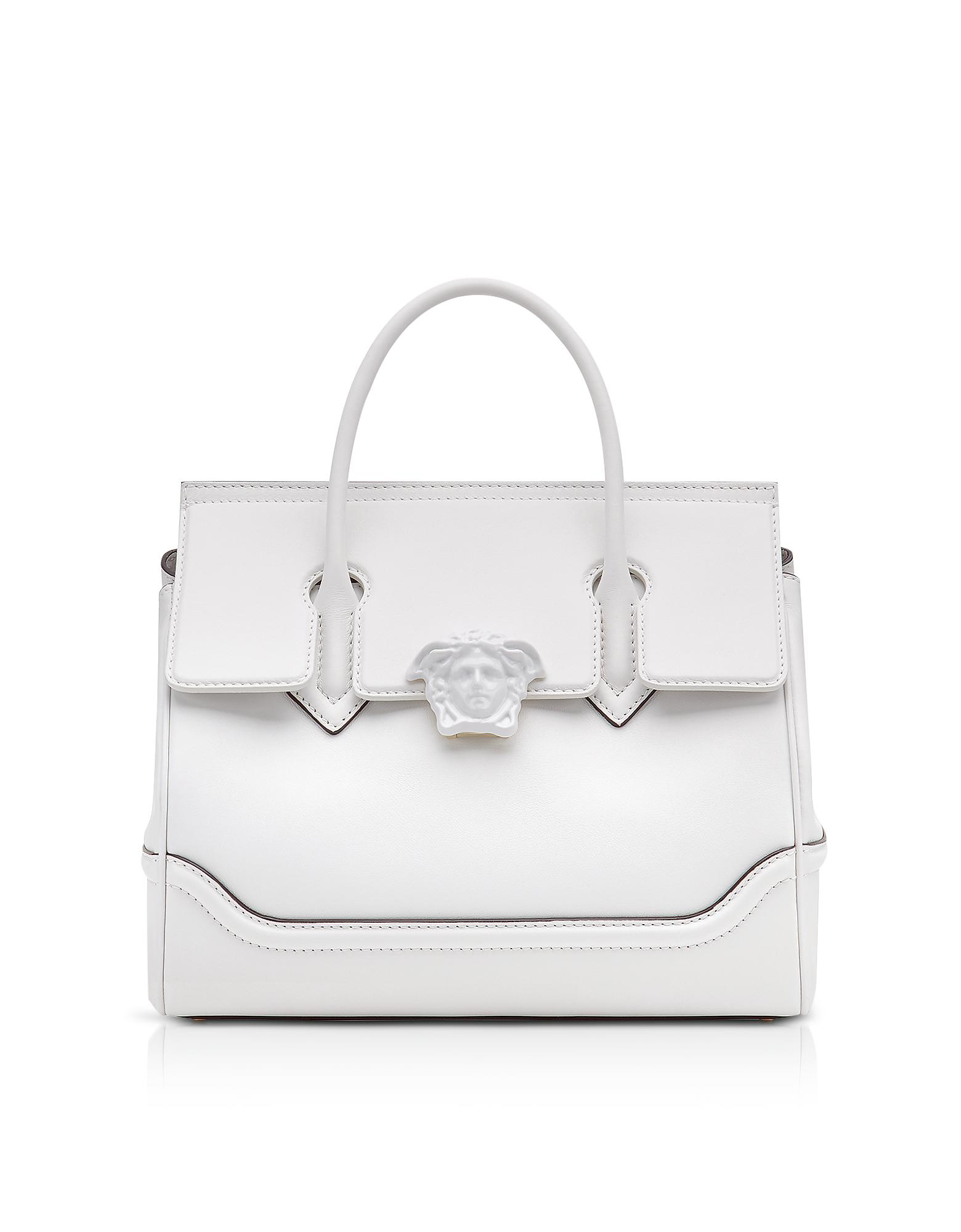 9b29644478ff Versace Palazzo Empire Large Top Handle Bag in White - Lyst