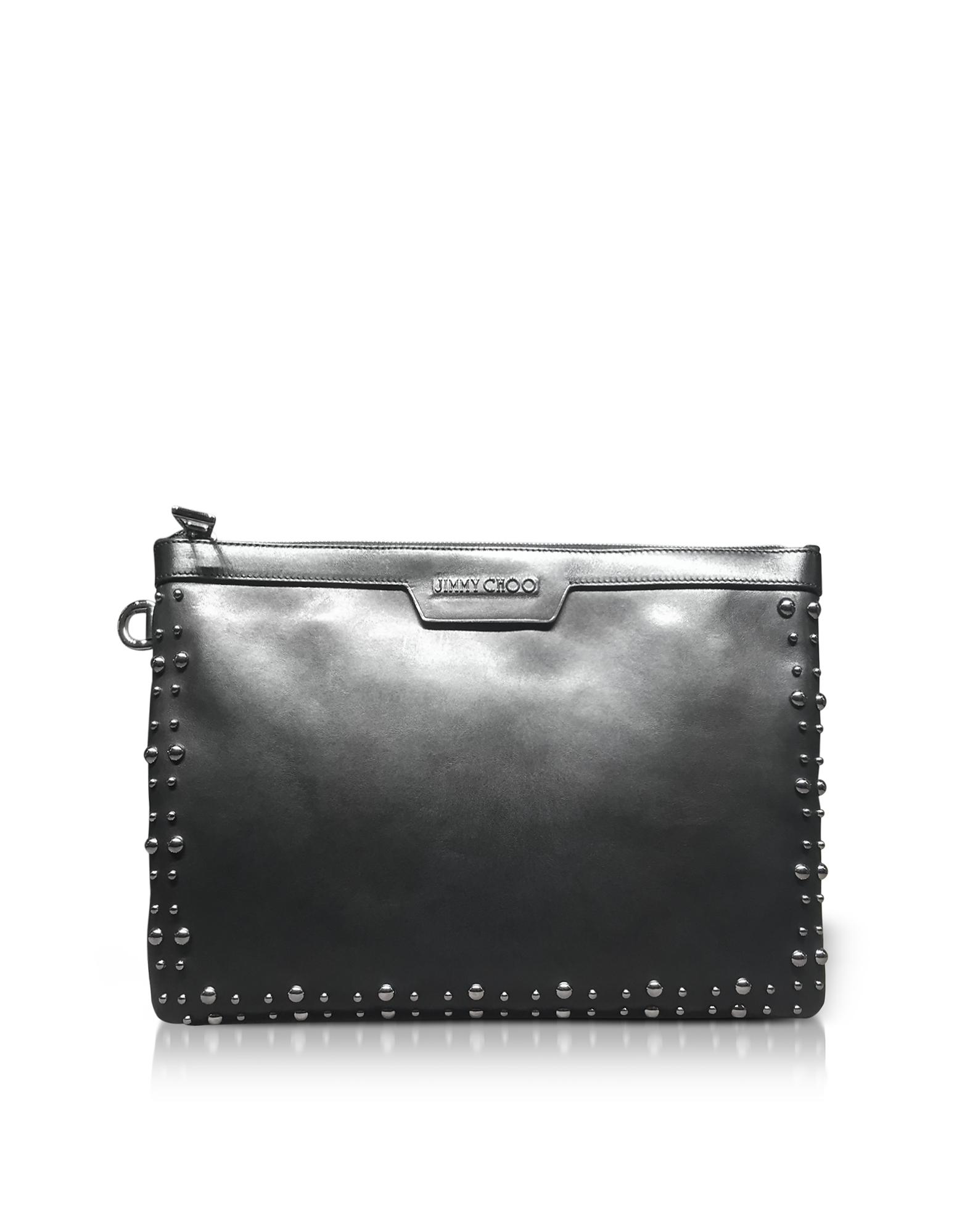 5c71a6036e9 Lyst - Jimmy Choo Derek Black Leather Clutch W/pearl Studs in Black ...