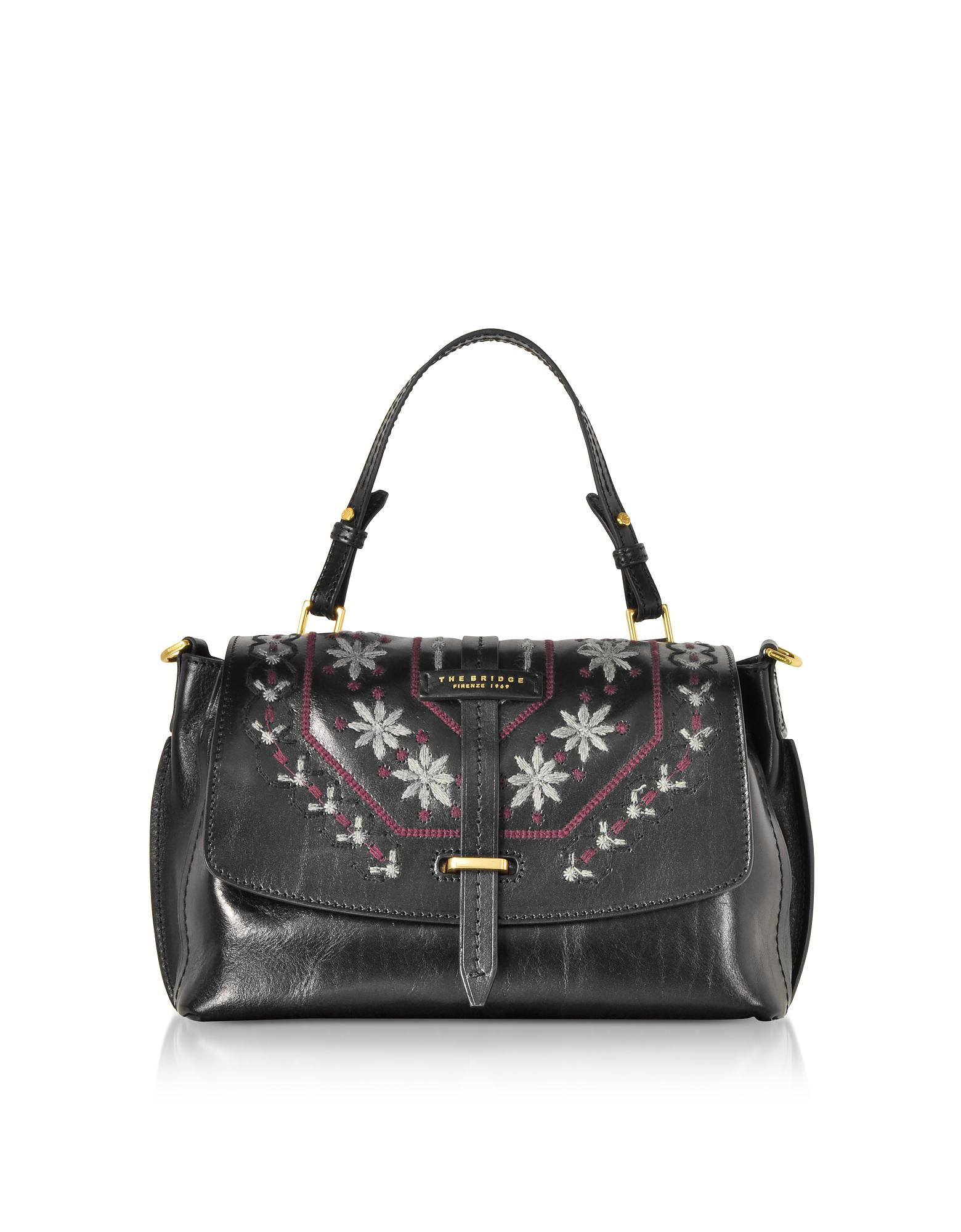 The Bridge Women S Black Fiesole Embroidered Leather Satchel Bag