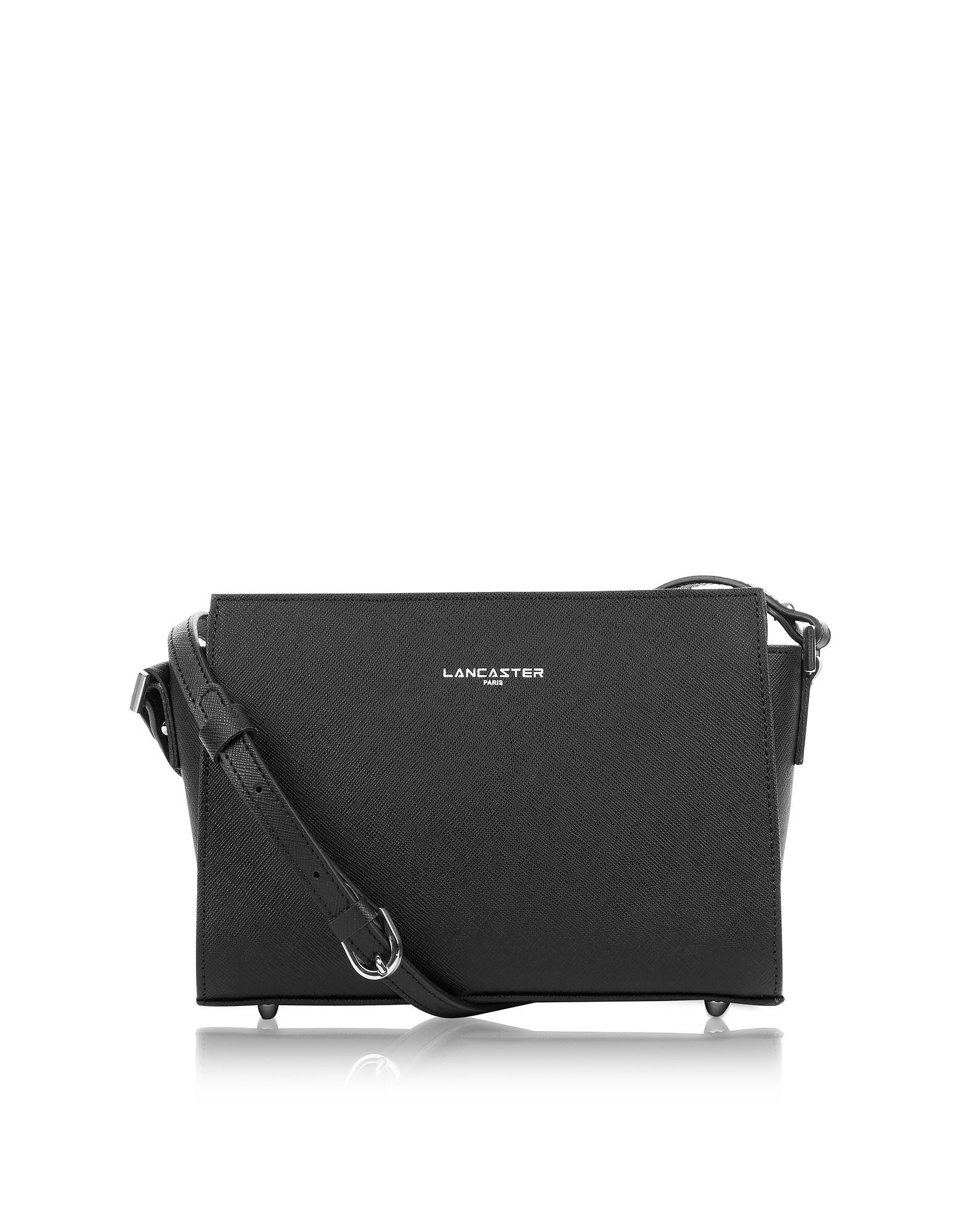 85a3dad07113 Lancaster Paris. Women's Adele Black Saffiano Leather Small Crossbody Bag