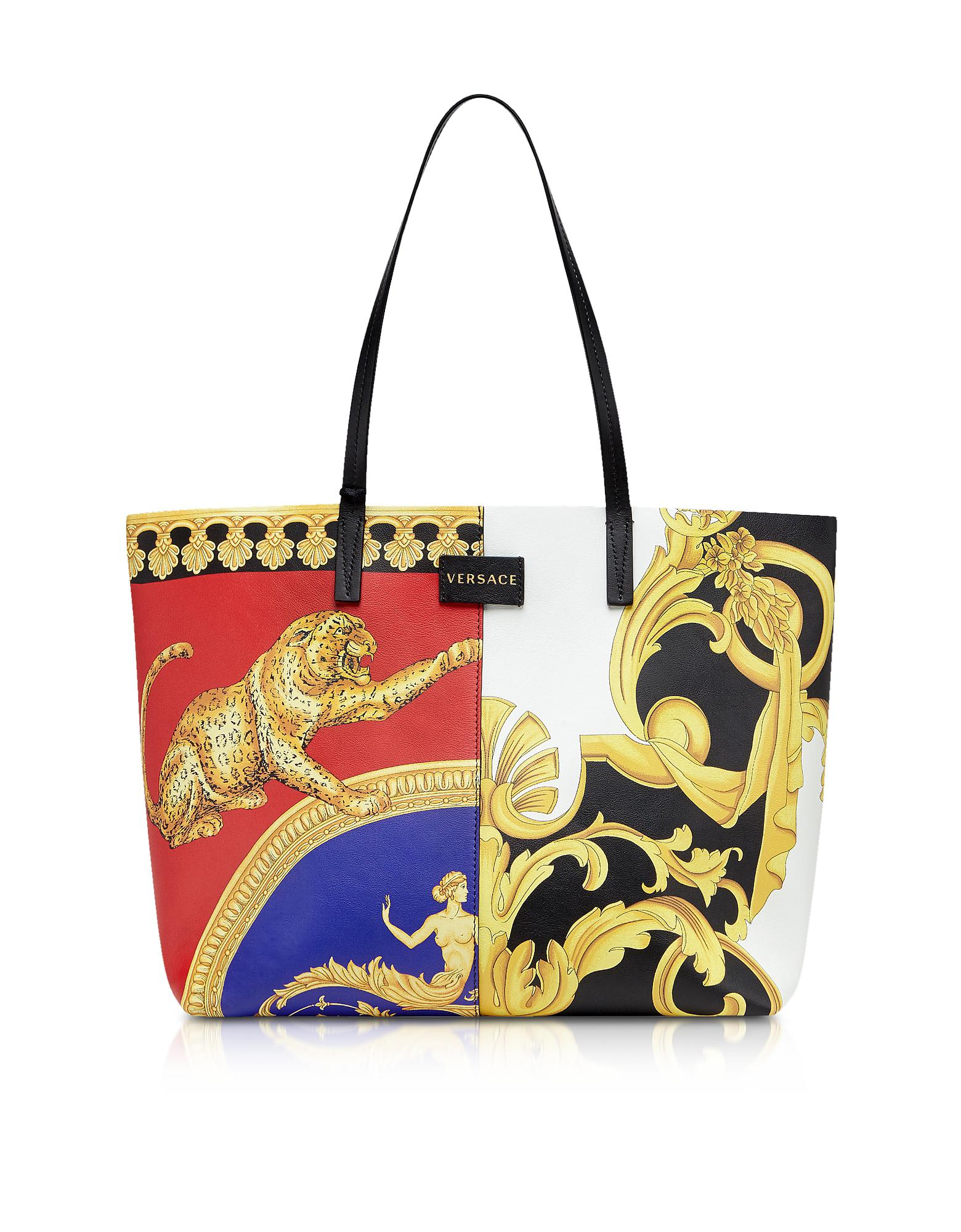 afe3aca81ab7 Versace Barocco Ss 92   Signature Pillow Talk Printed Leather Tote ...