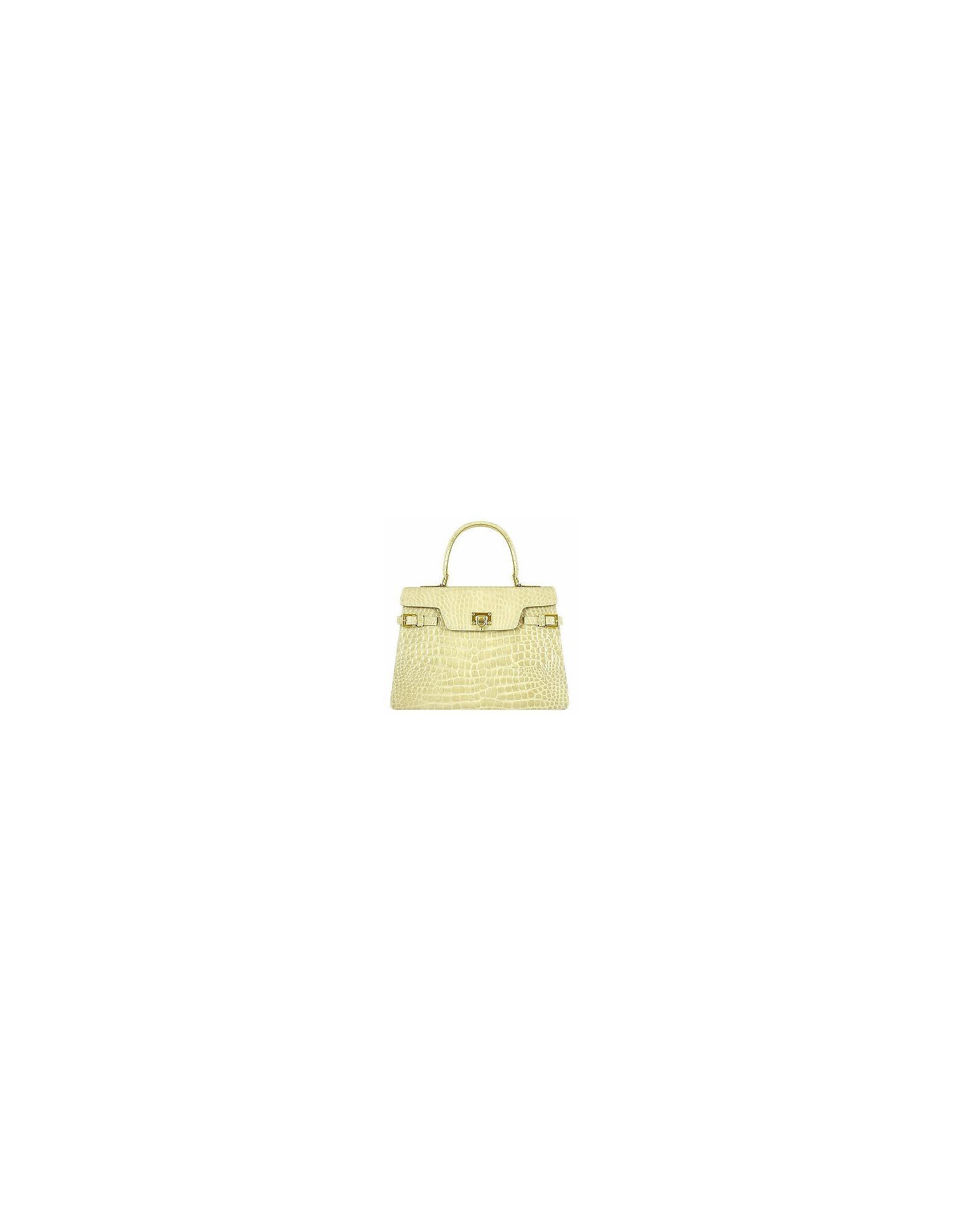 b6ed82cd6001c Fontanelli. Women s Shiny Sand Croco-style Leather Handbag
