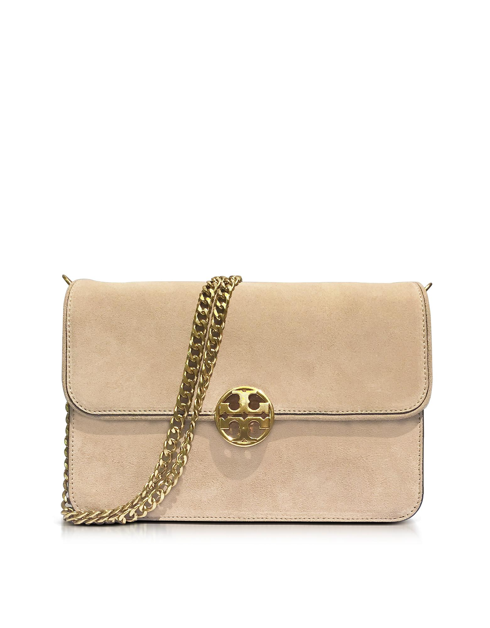 8640dea1b13a Lyst - Tory Burch Chelsea Stucco Suede Shoulder Bag in Natural