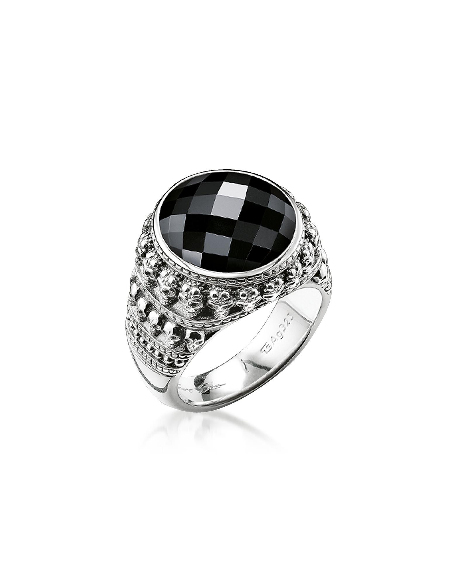 8d0e3e038459 Thomas Sabo. Men s Metallic Rebel Skulls Sterling Silver Ring W onyx
