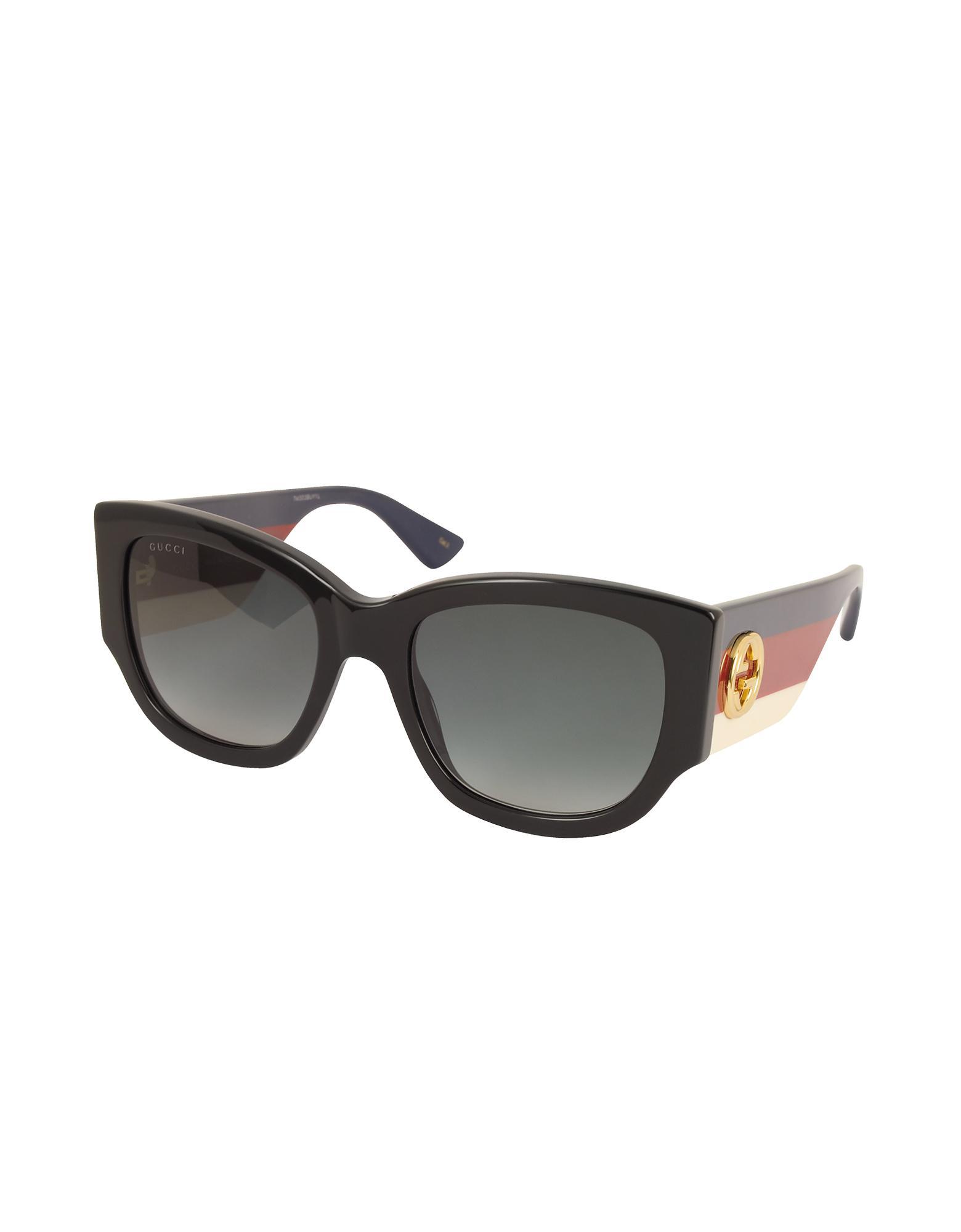 f1b52db91d4 Gucci GG0276S Black Oversize Cat Eye Acetate Sunglasses W sylvie Web  Temples in Black - Lyst