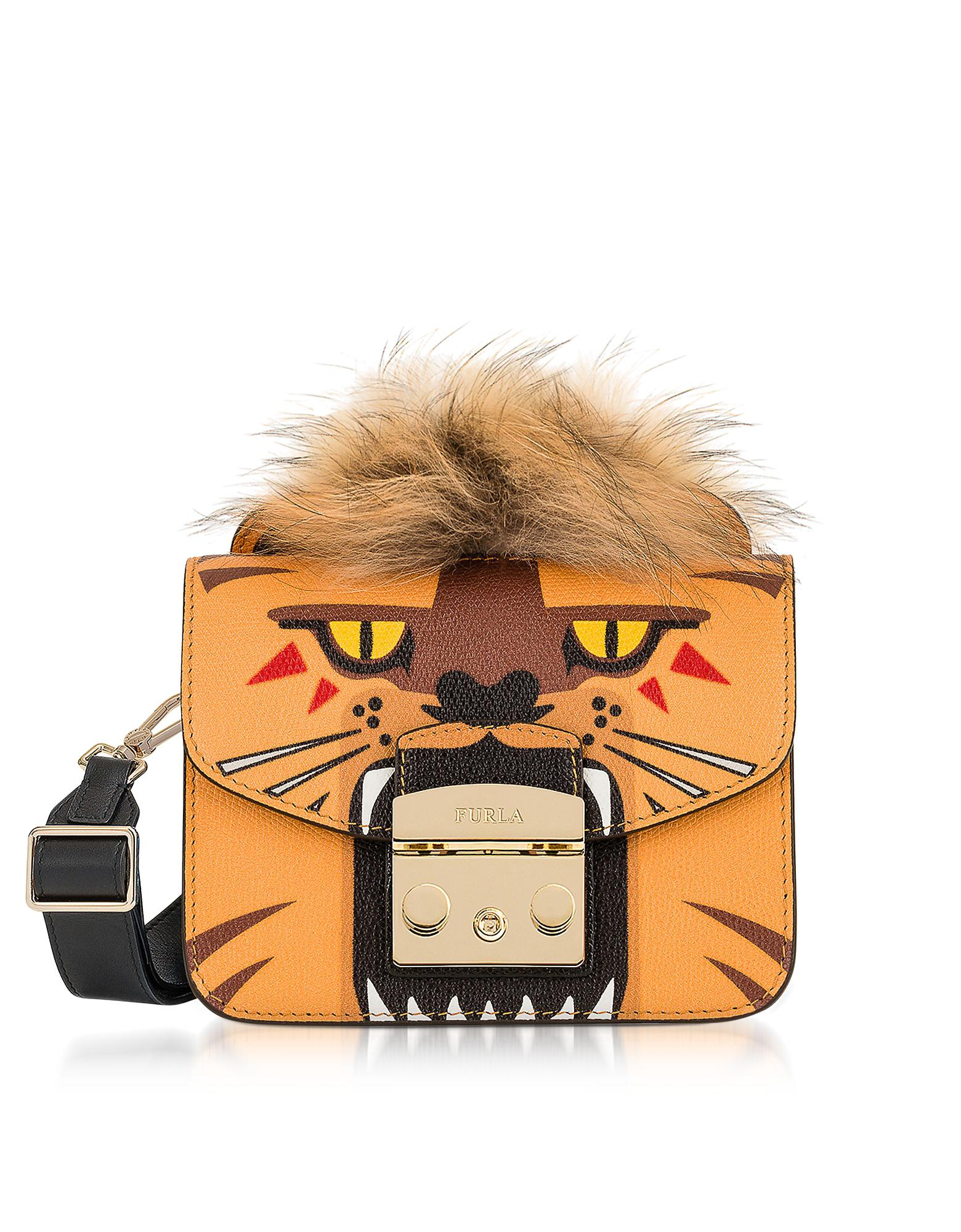 Lyst - Furla Metropolis Jungle Leo Mini Crossbody Bag in Orange a1023c7b3ff10