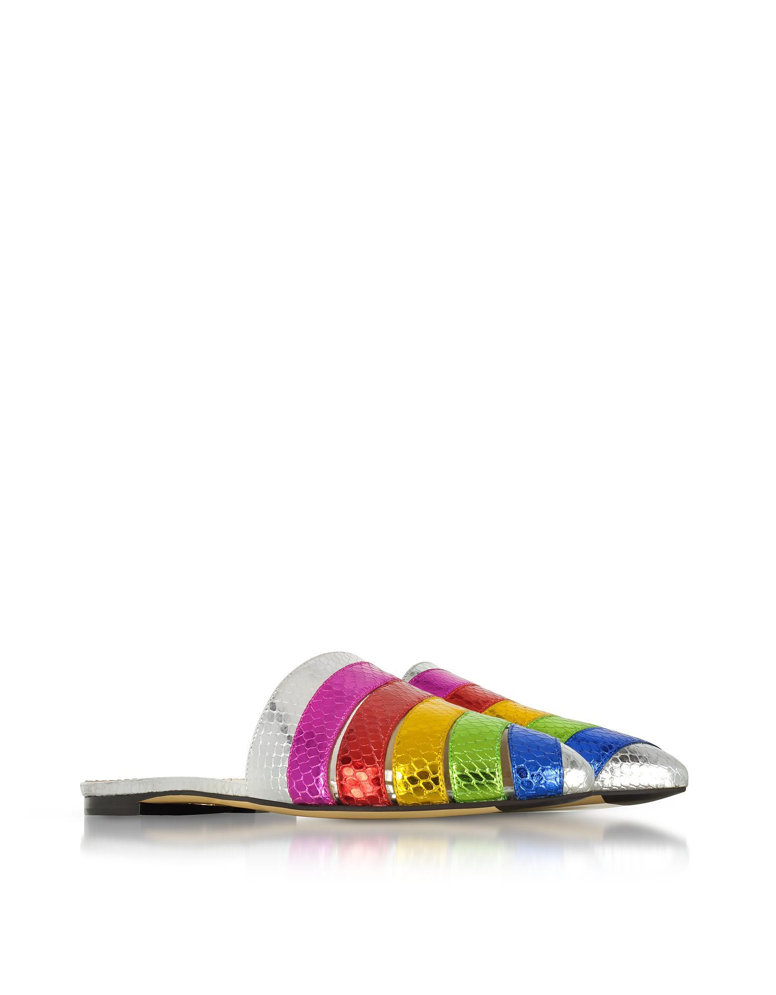 9f8ea01522d Charlotte Olympia Metallic Snake-print Leather Technicolor Slides - Save  63.70302474793767% - Lyst