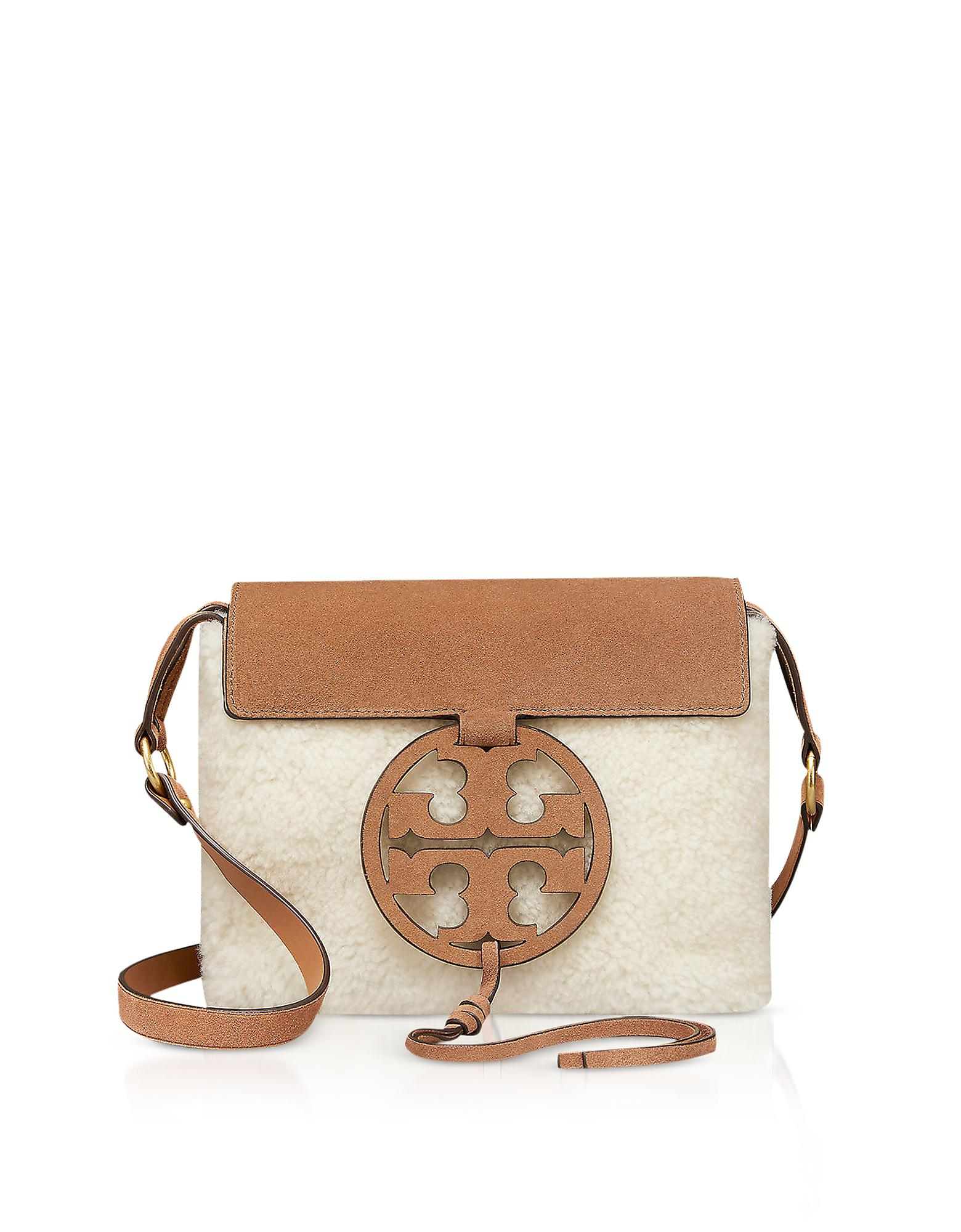 c6b3684dc3b8 Tory Burch Festival Brown Shearling And Leather Miller Crossbody Bag ...
