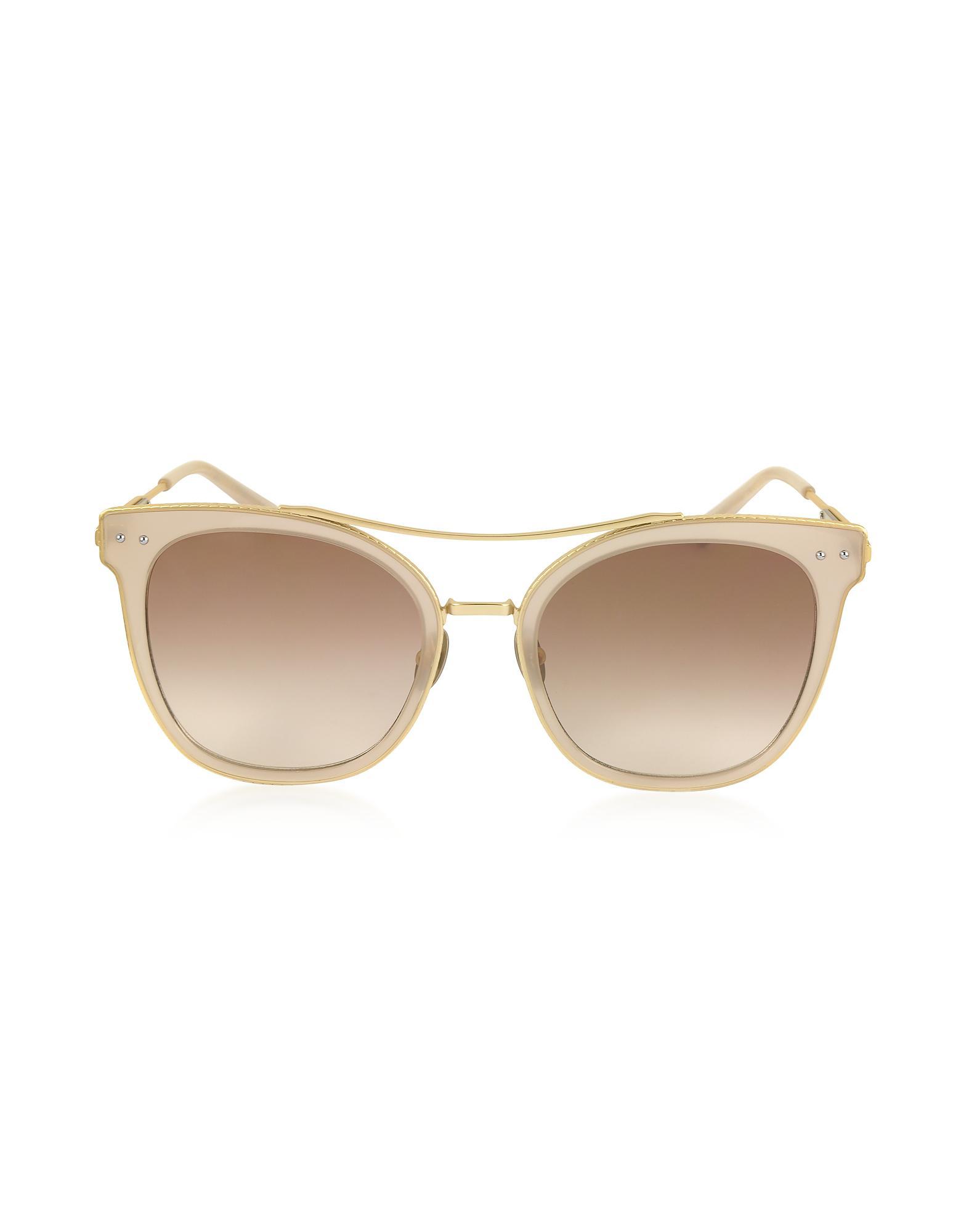 78bc7c1e3b Lyst - Bottega Veneta Bv0064s Round Metal Frame Women s Sunglasses ...