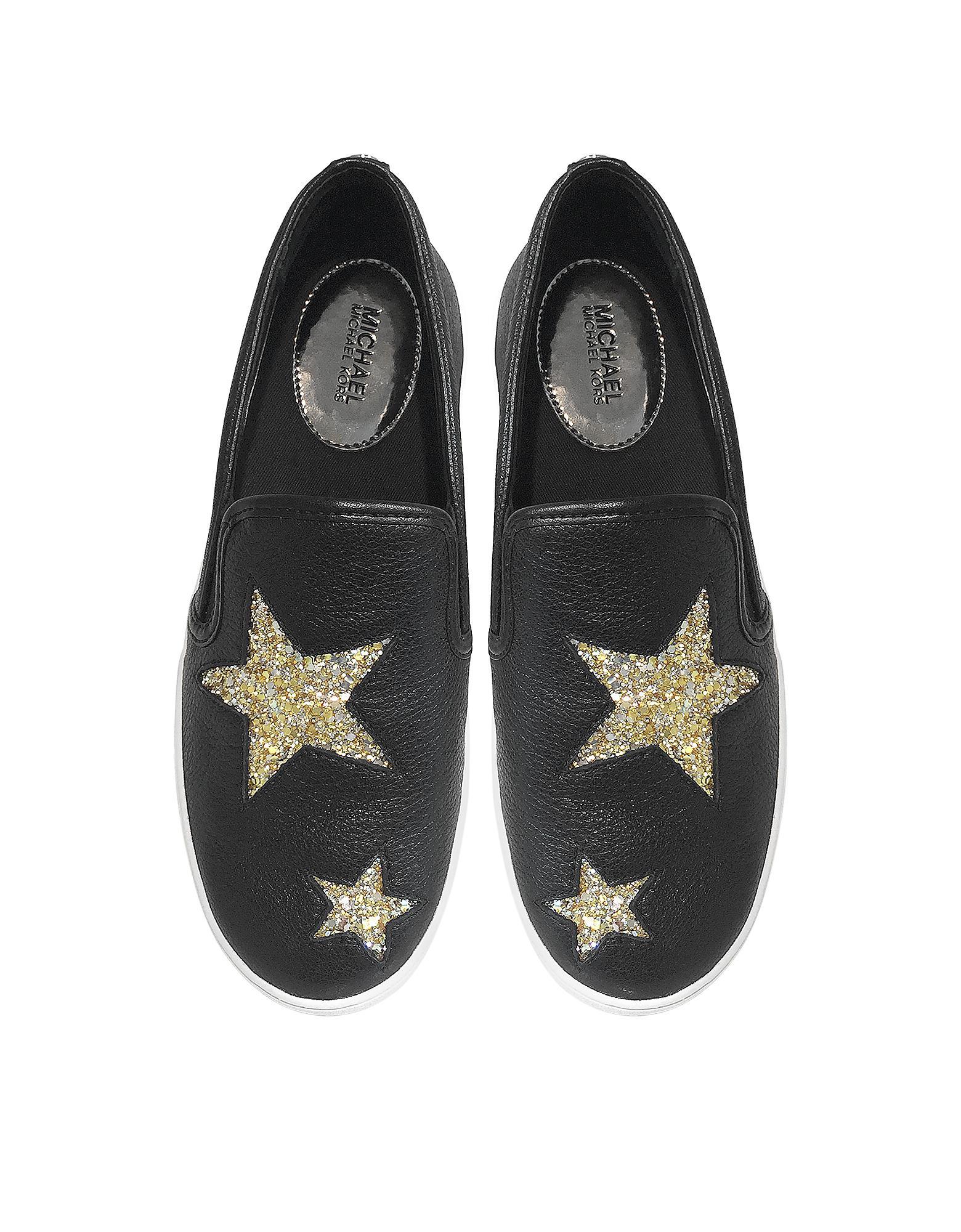 ddfdb119515ac Michael Kors Black Tumbled Leather W golden Glitter Stars Pia Slip ...