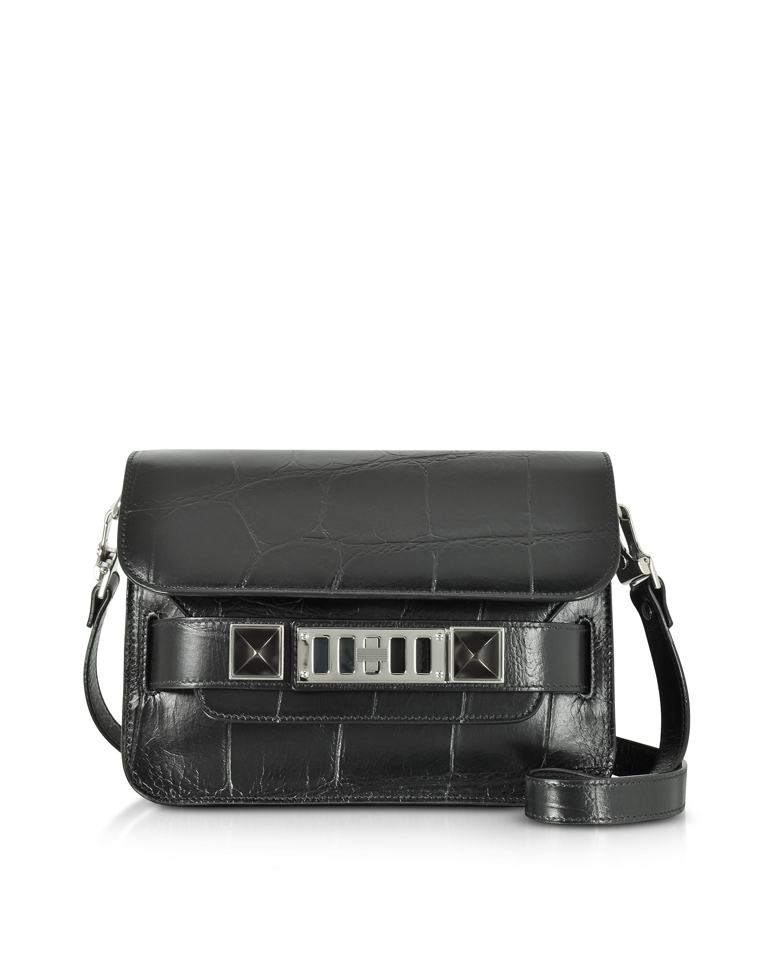 Ps11 Crossbody Bag in Black Embossed Giant Croc Leather Proenza Schouler 545kju