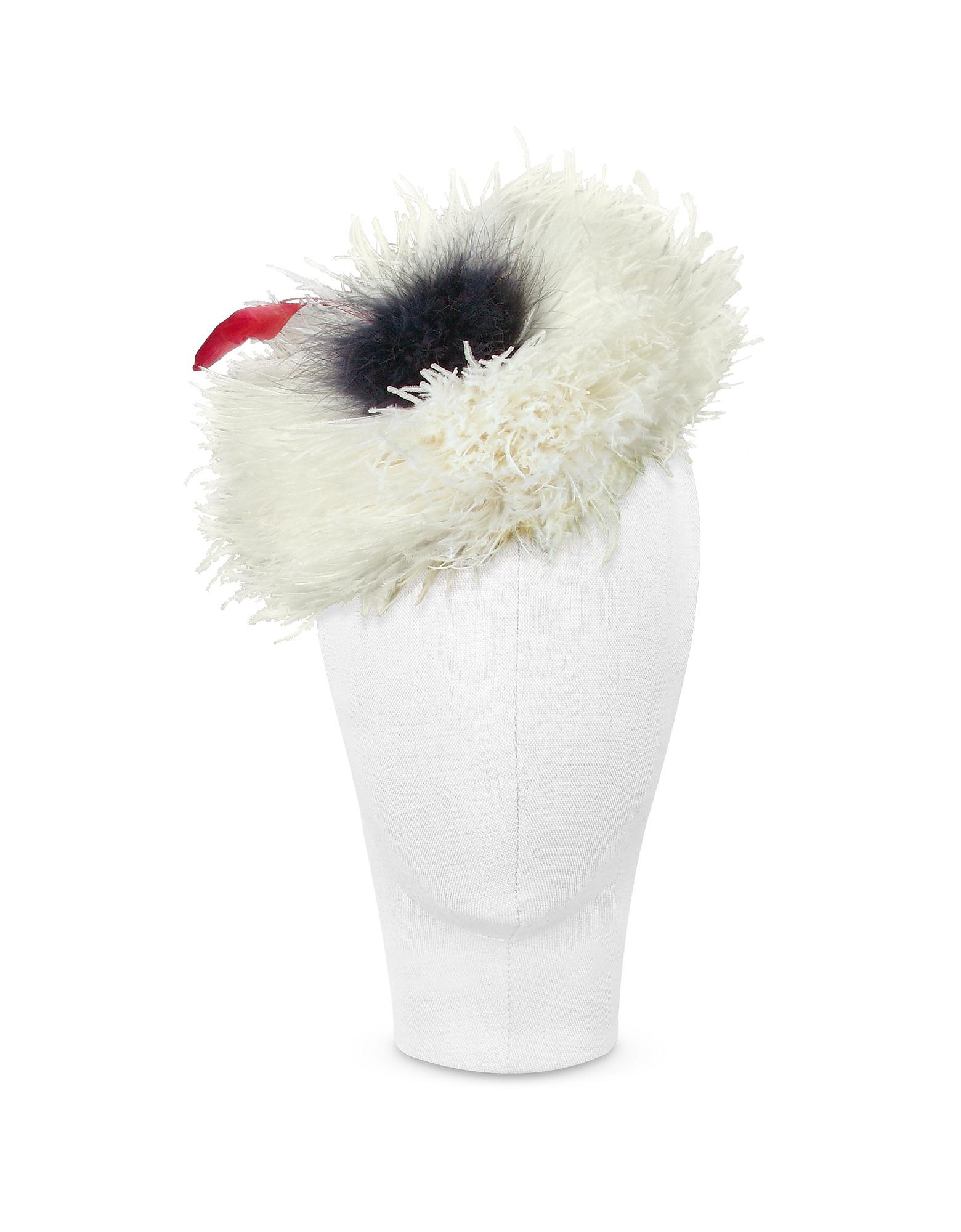 1cd8a93adcd Lyst - Nana  Abigail - Ivory Ostrich Feather Headdress in Black - Save  30.092592592592595%