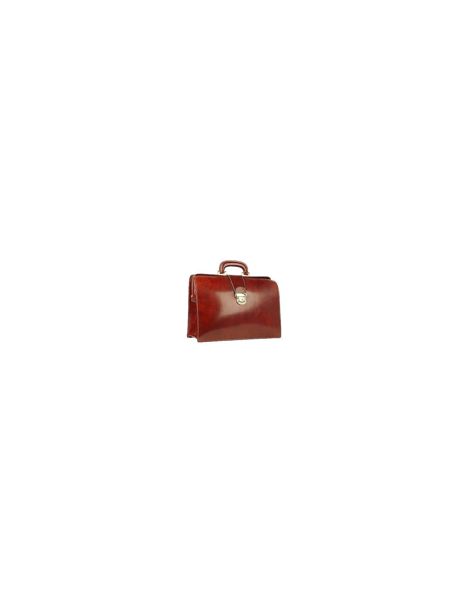 04b747a3bcf FORZIERI Cognac Italian Leather Buckled Medium Doctor Bag for Men - Lyst