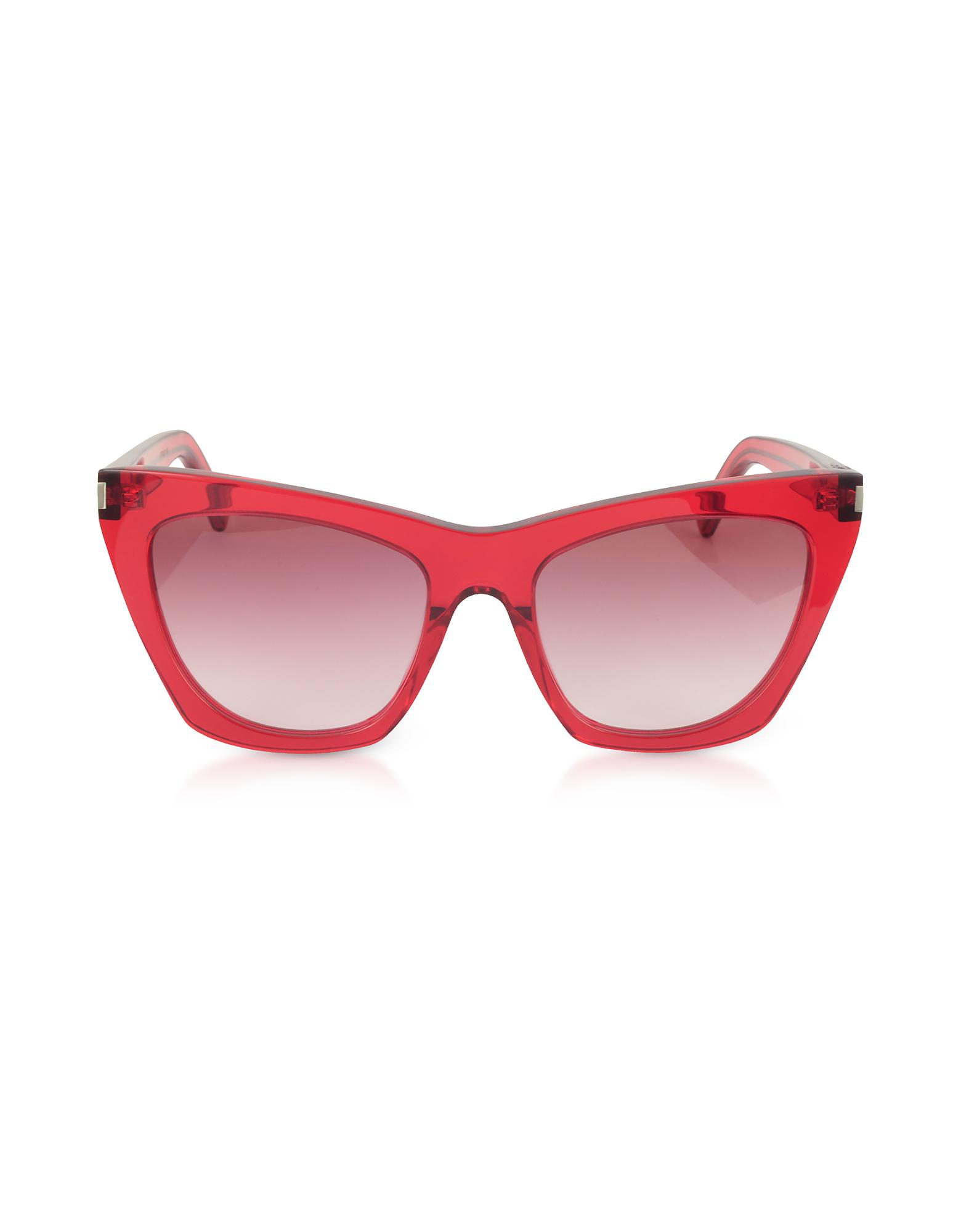 9907401700 Saint Laurent New Wave 214 Kate Acetate Sunglasses in Red - Lyst