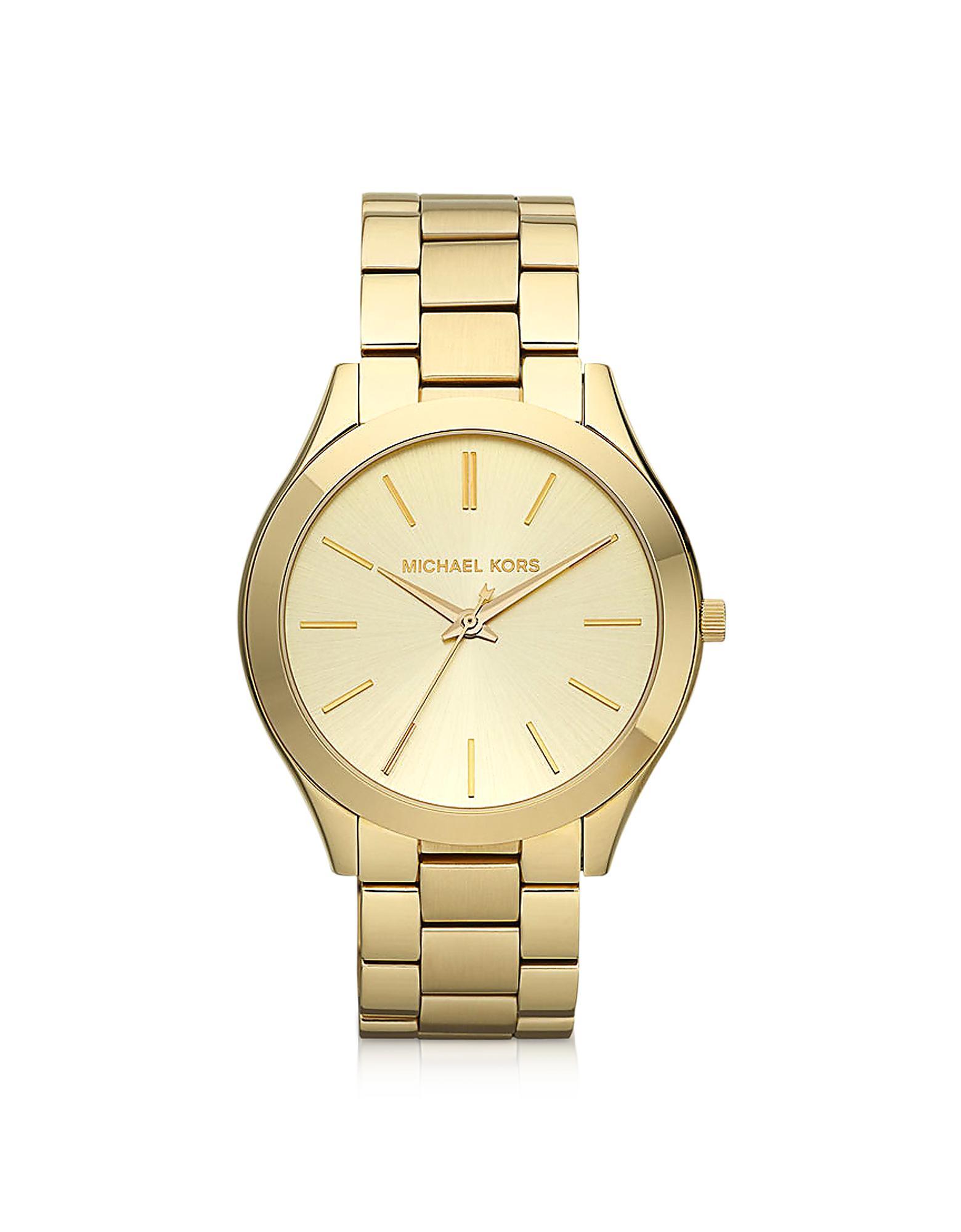 0e6afe3d13f4 Michael Kors - Metallic Runway Slim Gold Tone Watch - Lyst. View fullscreen