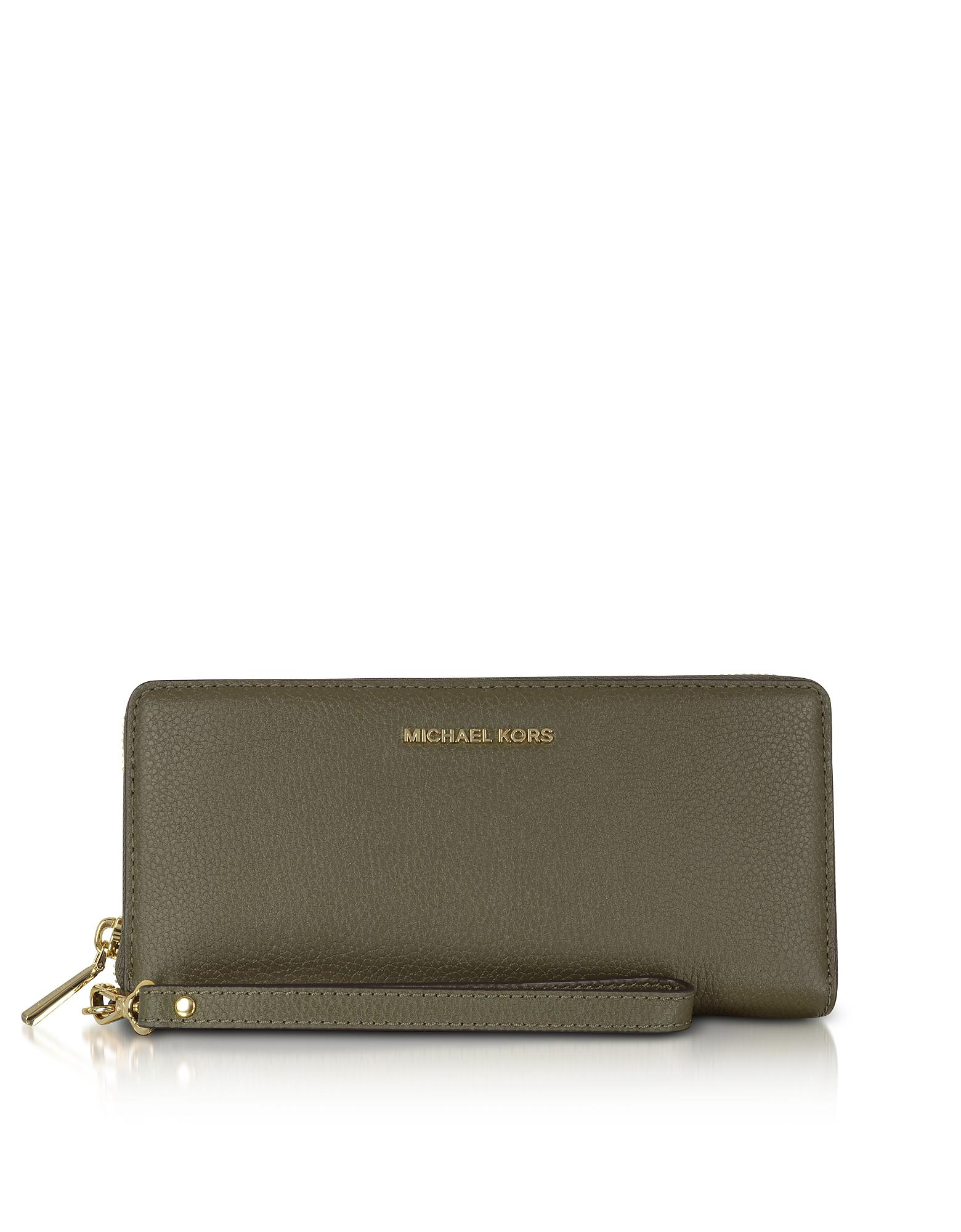 039ed84c85889a Michael Kors Mercer Large Olive Pebble Leather Continental Wallet in ...